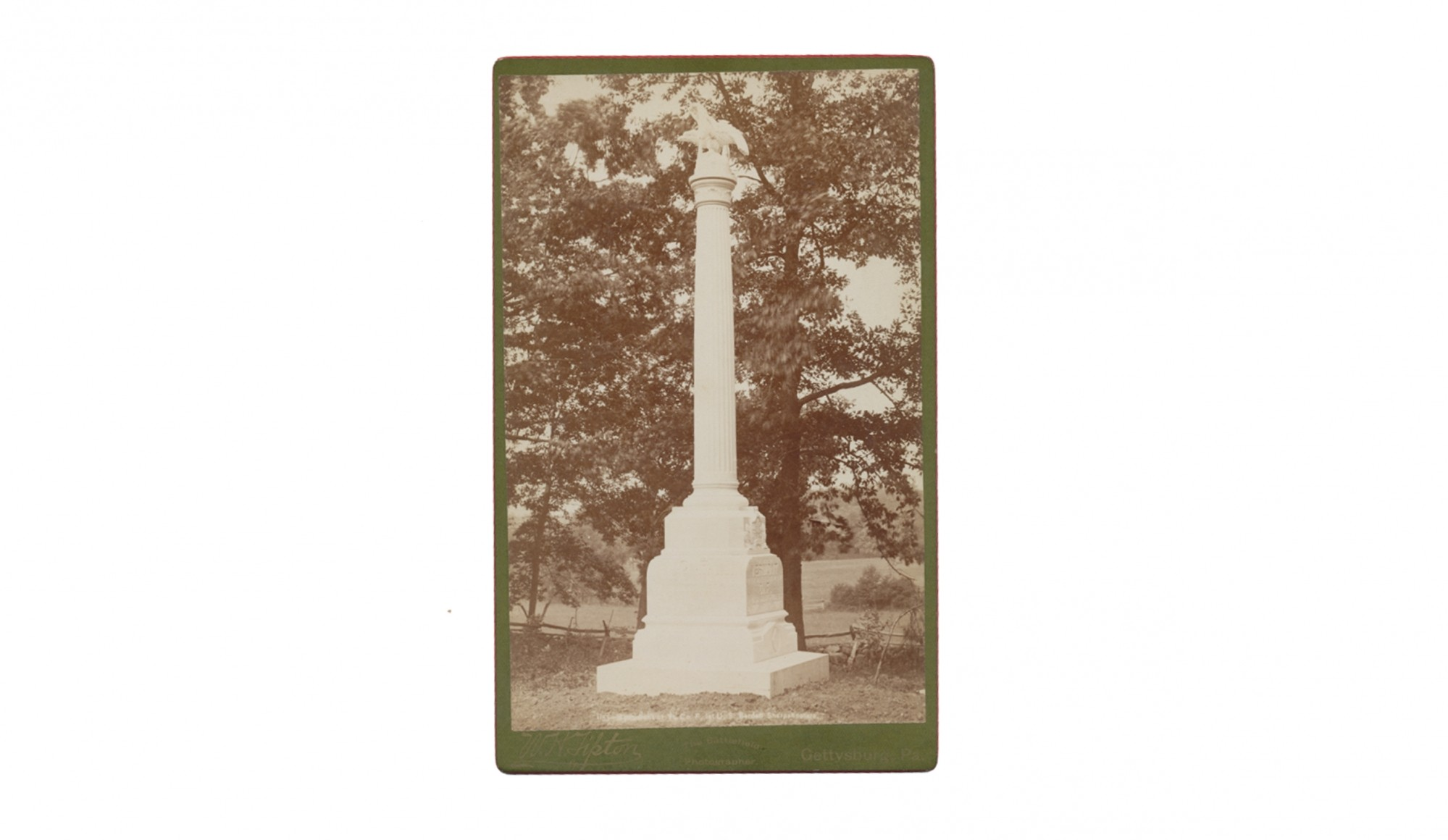 TIPTON CABINET CARD PHOTO OF GETTYSBURG SHARPSHOOTER MONUMENT