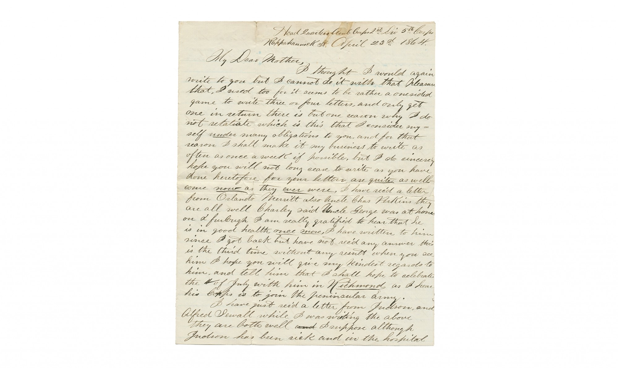 PAIR OF SOLDIER'S LETTERS - CORPORAL GEORGE P. RAMSDELL, 32ND MASSACHUSETTS INFANTRY