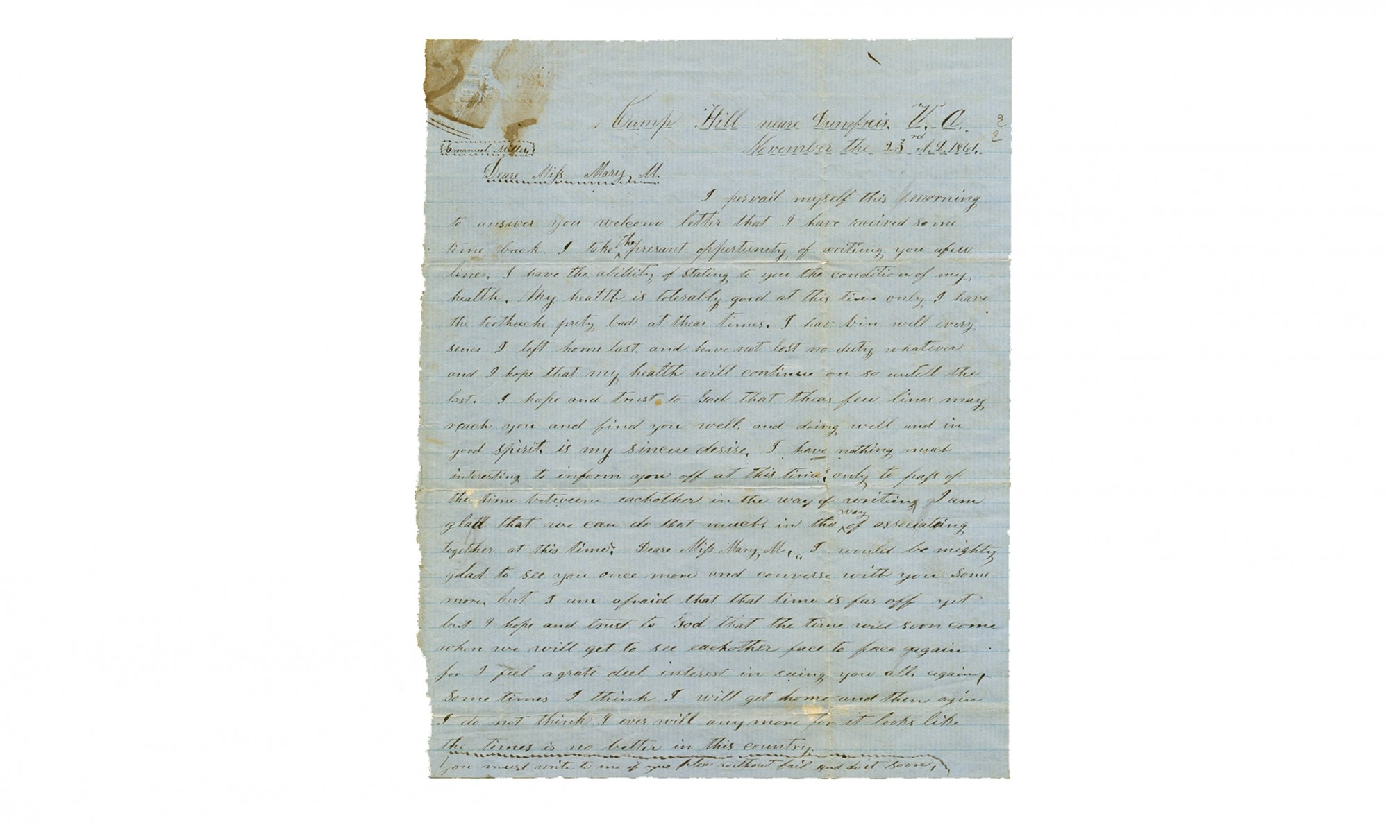 TWO EARLY WAR LETTERS BY A 6TH NORTH CAROLINA SOLDIER