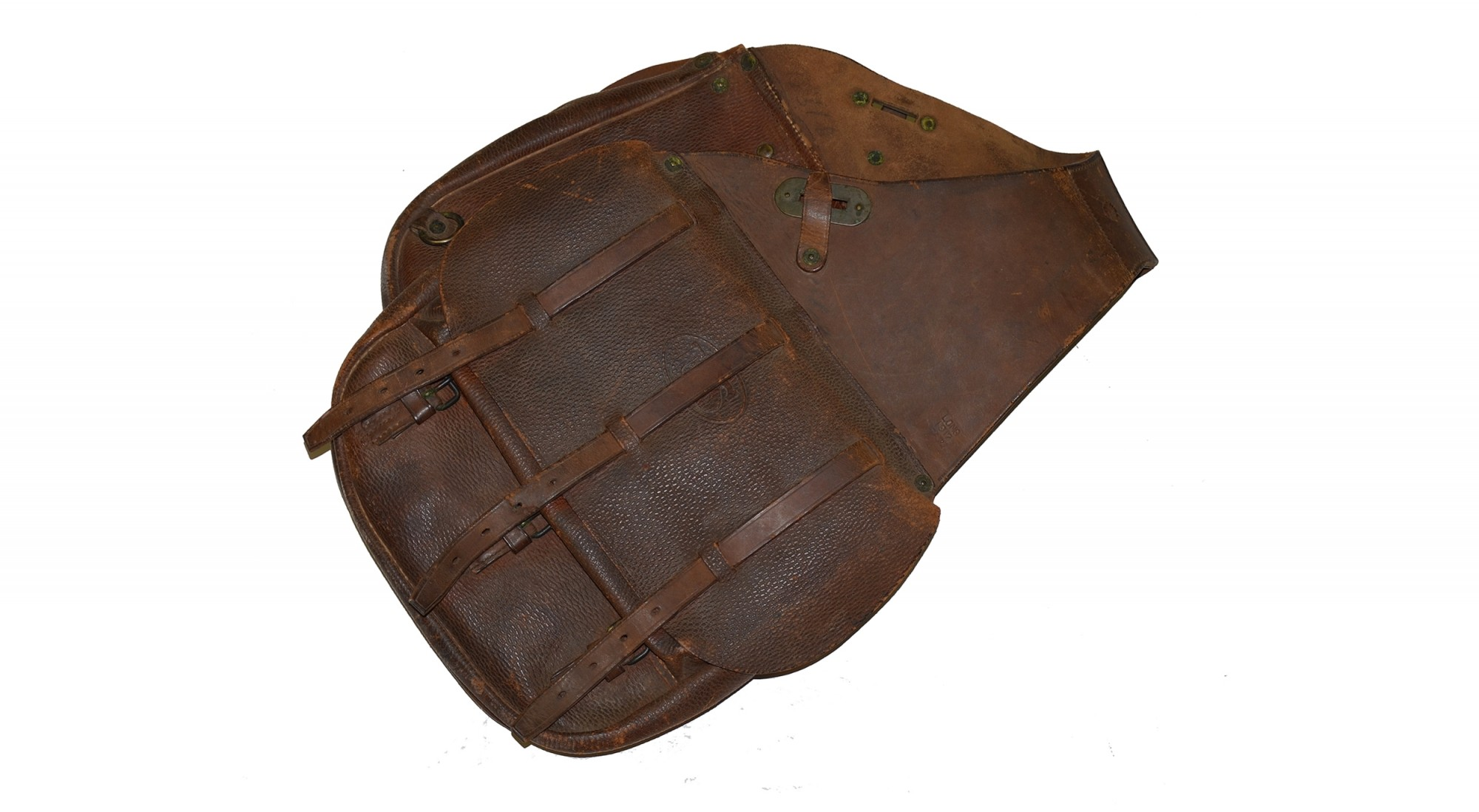 WORLD WAR ONE US LEATHER SADDLE BAGS DATED 1917