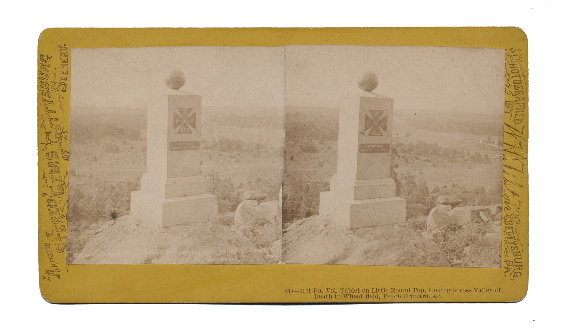 TIPTON STEREO VIEW OF 91ST PENNSYLVANIA MONUMENT ON LITTLE ROUND TOP
