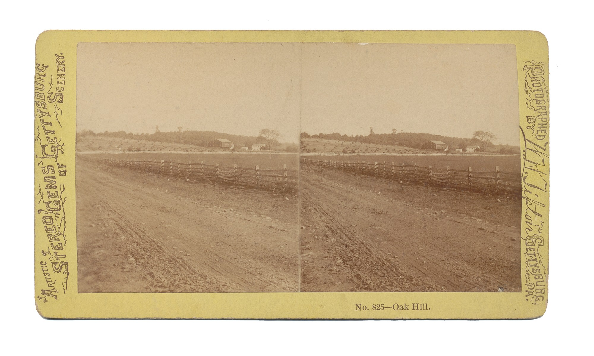 TIPTON STEREO VIEW OF OAK HILL, GETTYSBURG