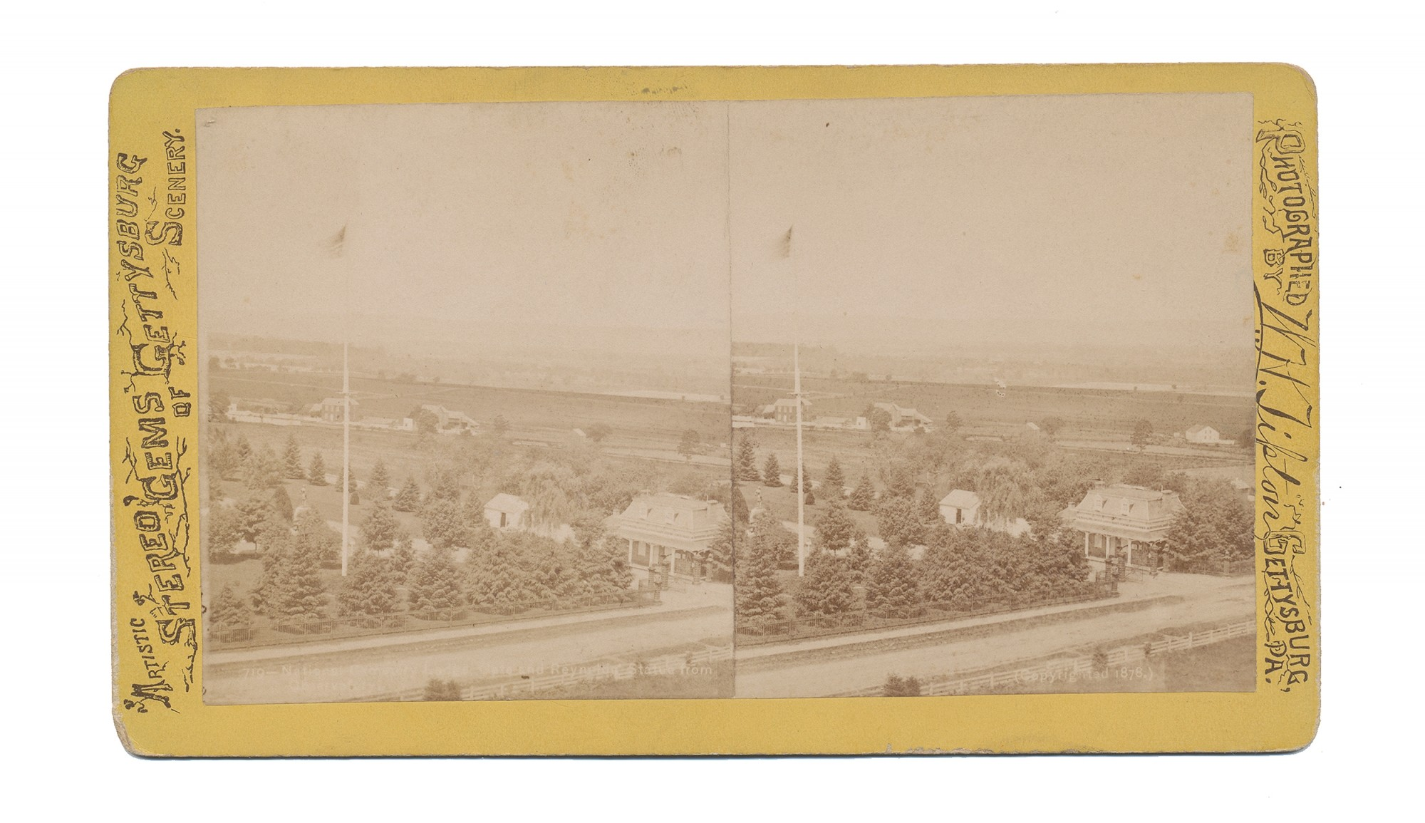 TIPTON STEREO VIEW OF SOLDIER'S NATIONAL CEMETERY GATE, GETTYSBURG