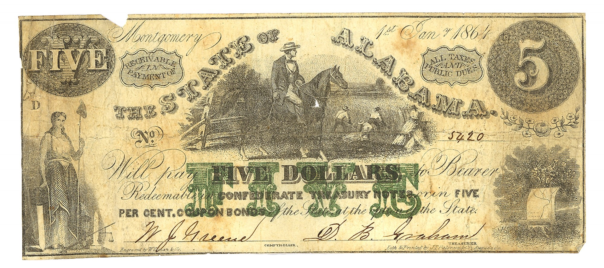 STATE OF ALABAMA $5 NOTE