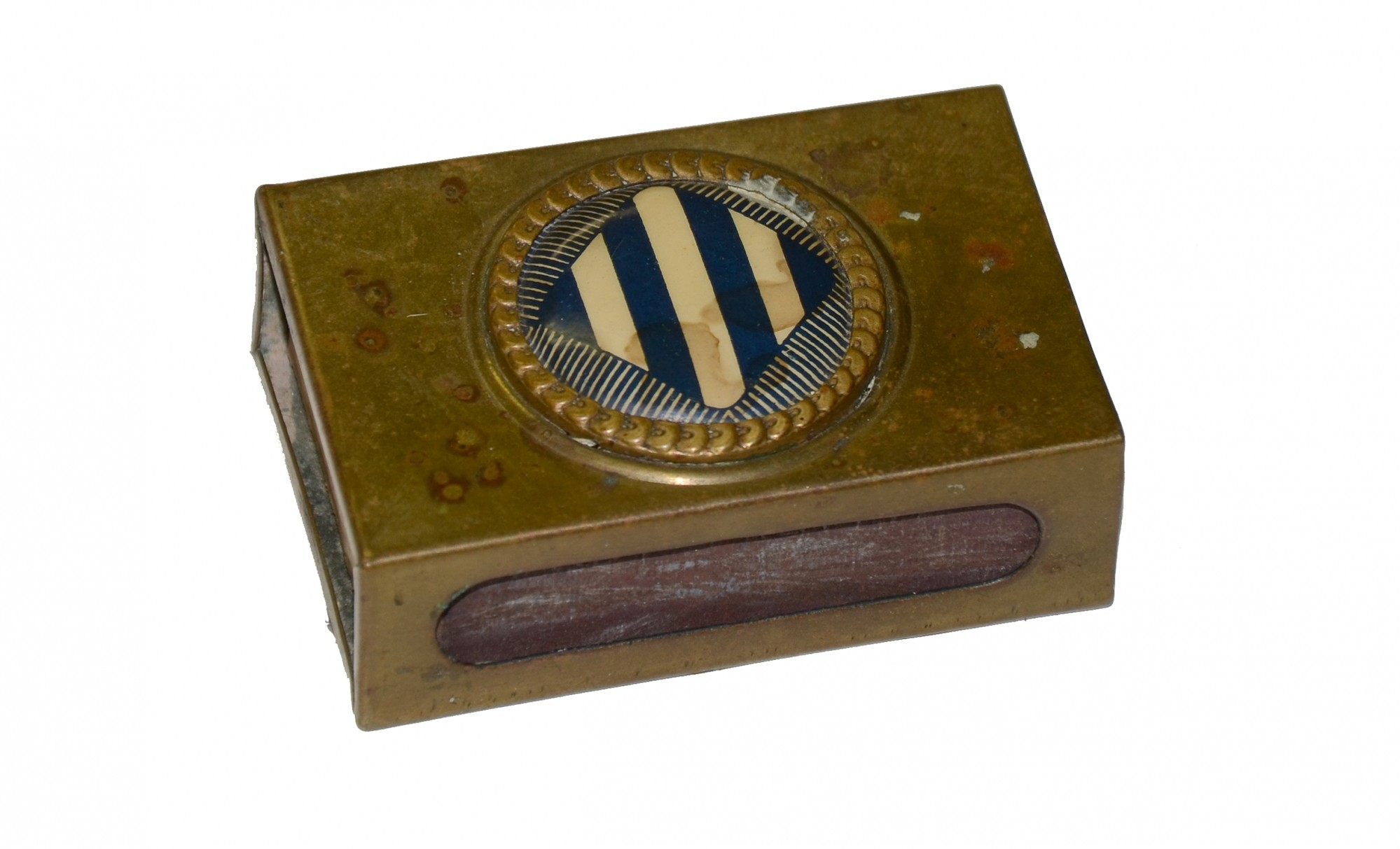 WORLD WAR ONE MATCH SAFE WITH 3RD INFANTRY DIVISION INSIGNIA