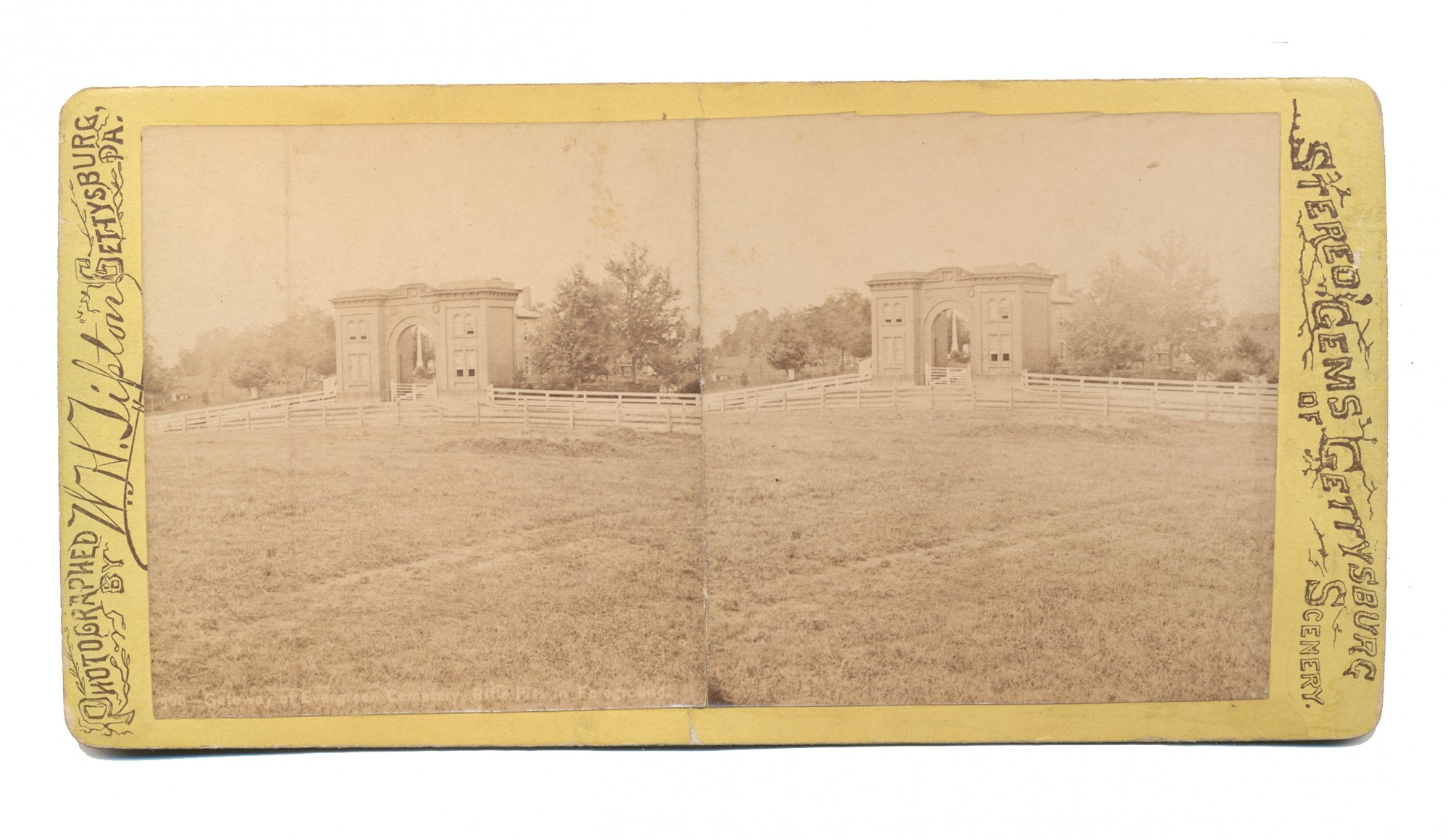TIPTON STEREO VIEW SHOWING THE GATEHOUSE OF EVERGREEN CEMETERY, GETTYSBURG