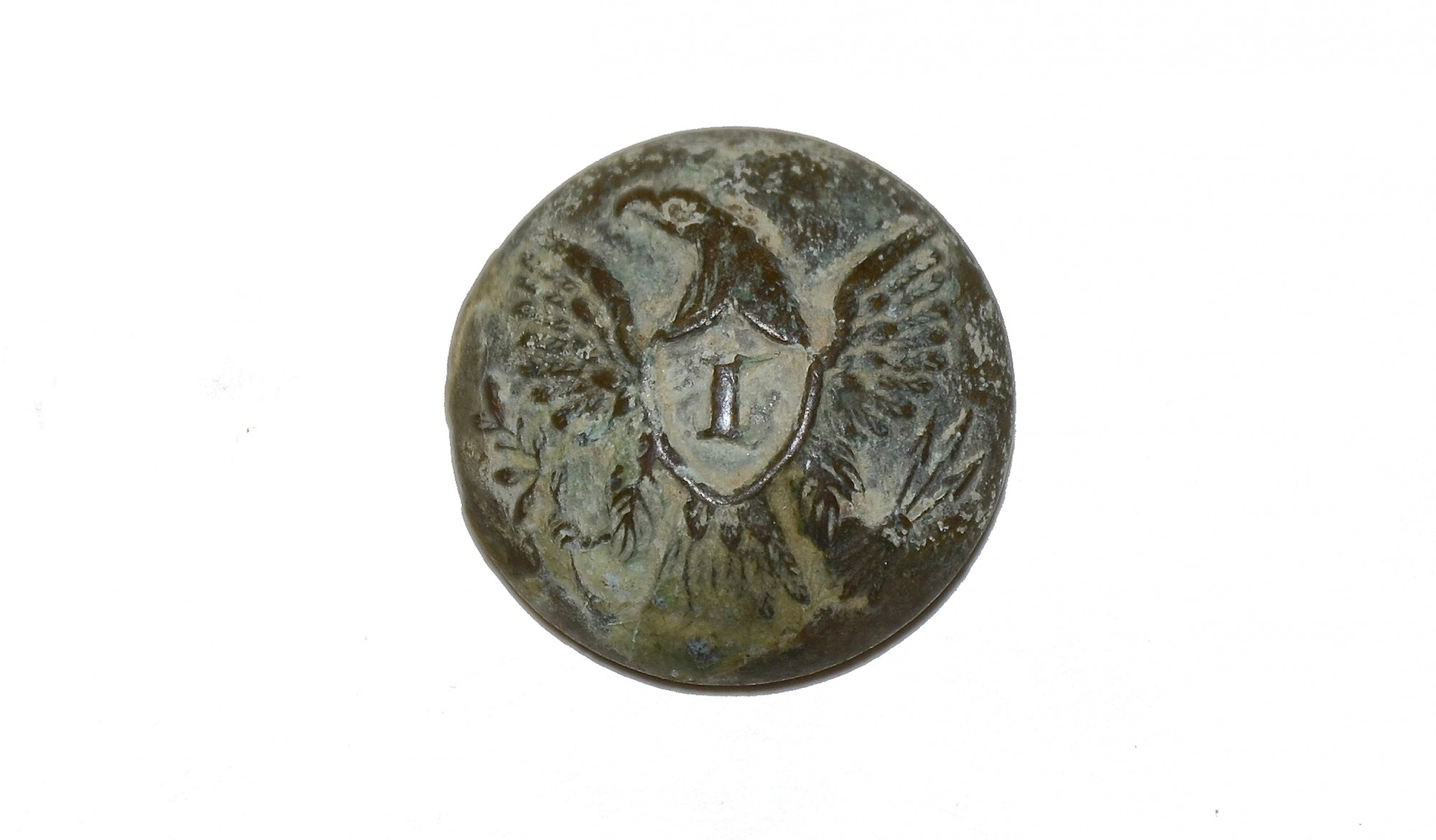"INFANTRY ""I"" EAGLE BUTTON FROM THE GETTYSBURG ROSENSTEEL COLLECTION"