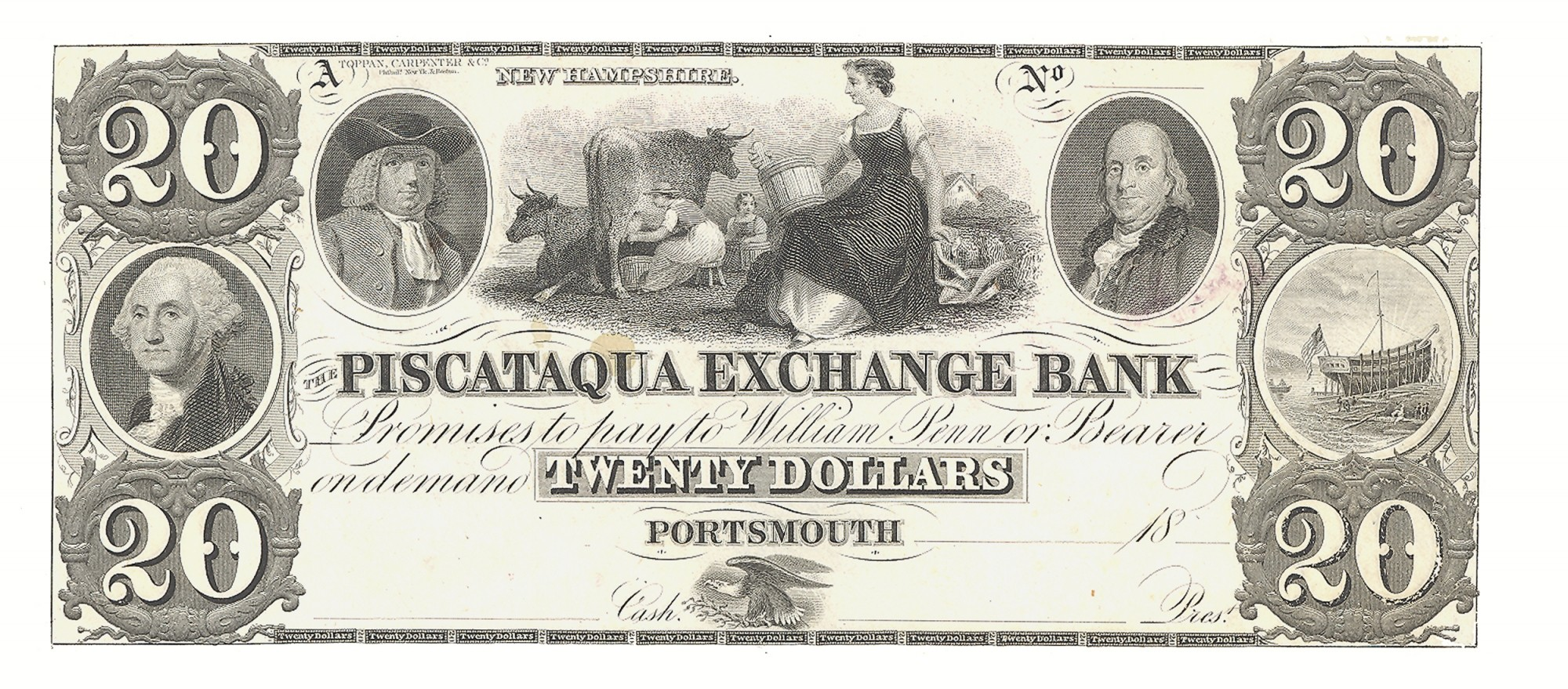 THE PISCATAQUA EXCHANGE BANK, PORSTMOUTH, NEW HAMPSHIRE, $20 NOTE
