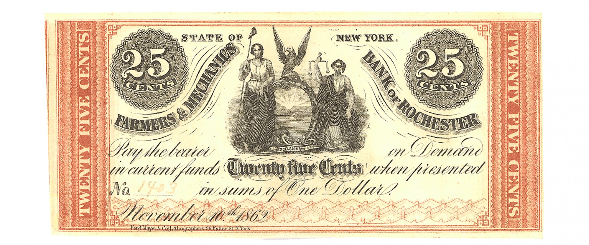 THE FARMERS AND MECHANICS BANK OF ROCHESTER, NEW YORK $.25 NOTE