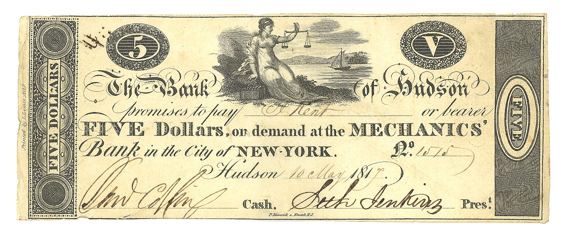 THE BANK OF HUDSON, NEW YORK $5 NOTE