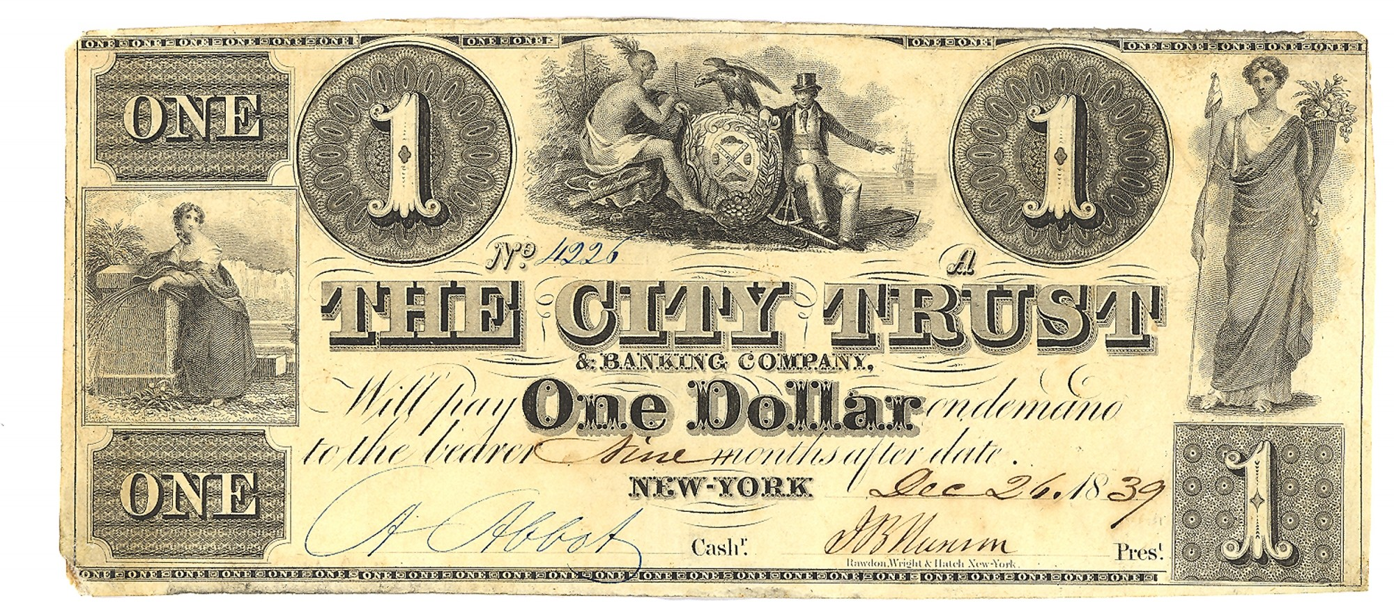THE CITY TRUST AND BANKING COMPANY, NEW YORK CITY, NEW YORK $1 NOTE