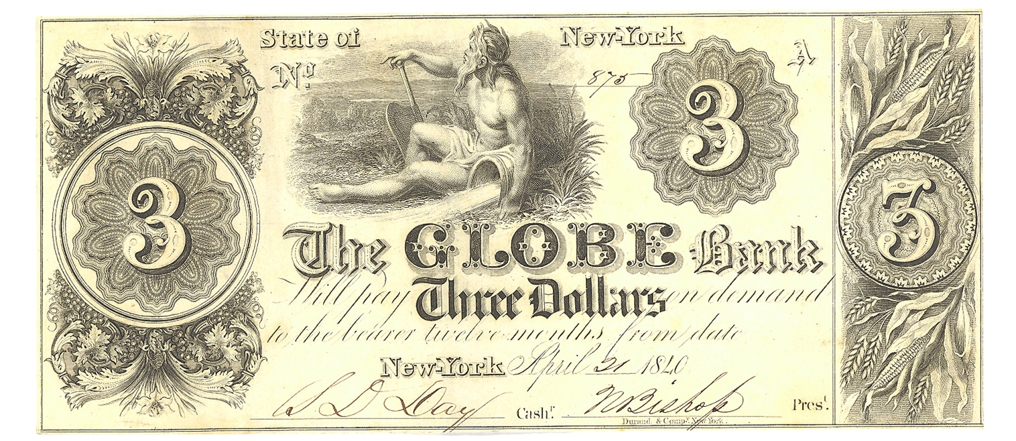 THE GLOBE BANK, NEW YORK CITY, NEW YORK $3 NOTE
