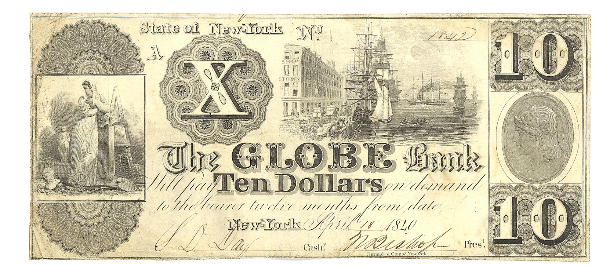 THE GLOBE BANK, NEW YORK CITY, NEW YORK $10 NOTE