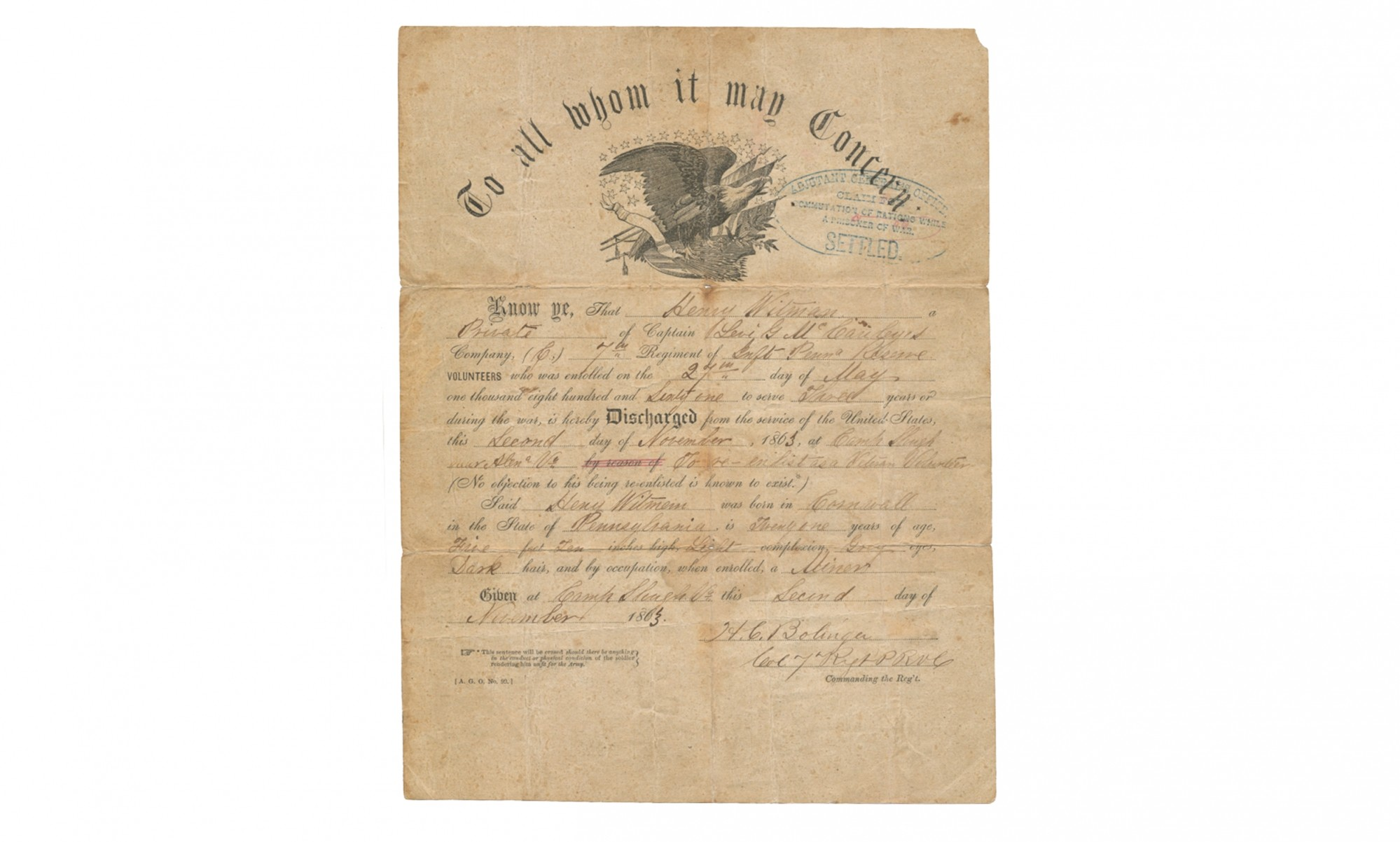 EAGLE MASTHEAD DISCHARGE FOR 7TH PENNSYLVANIA RESERVES SOLDIER