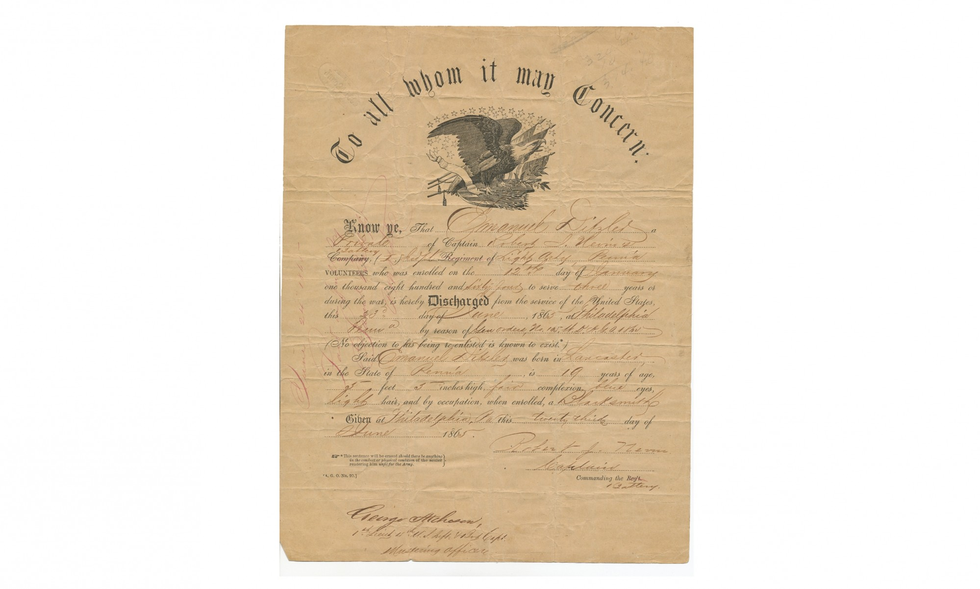 EAGLE MASTHEAD DISCHARGE FOR PENNSYLVANIA LIGHT ARTILLERY SOLDIER