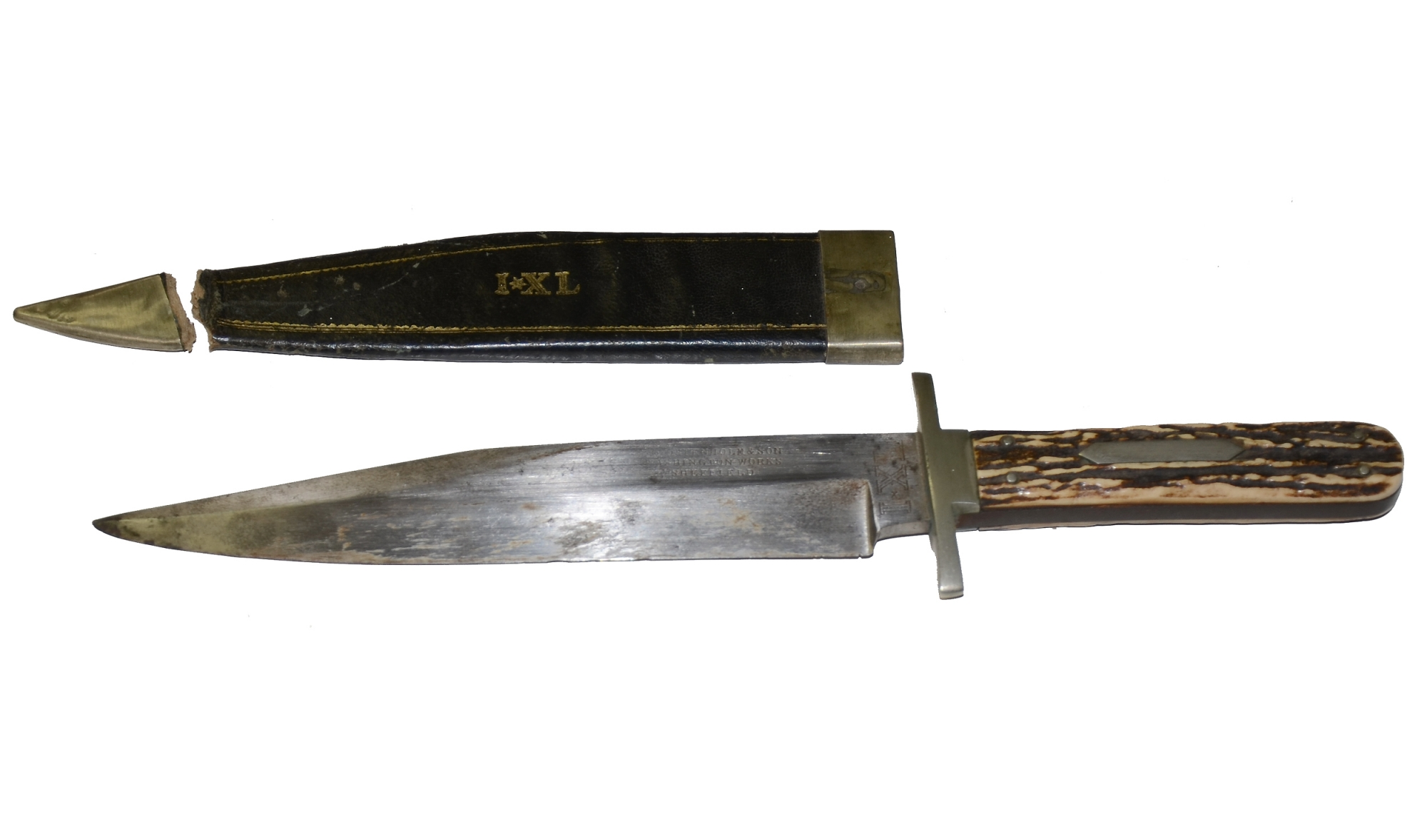 CIVIL WAR ERA, WOSTENHOLM & SON SHEFFIELD BOWIE KNIFE COMPLETE WITH ORIGINAL LEATHER SCABBARD