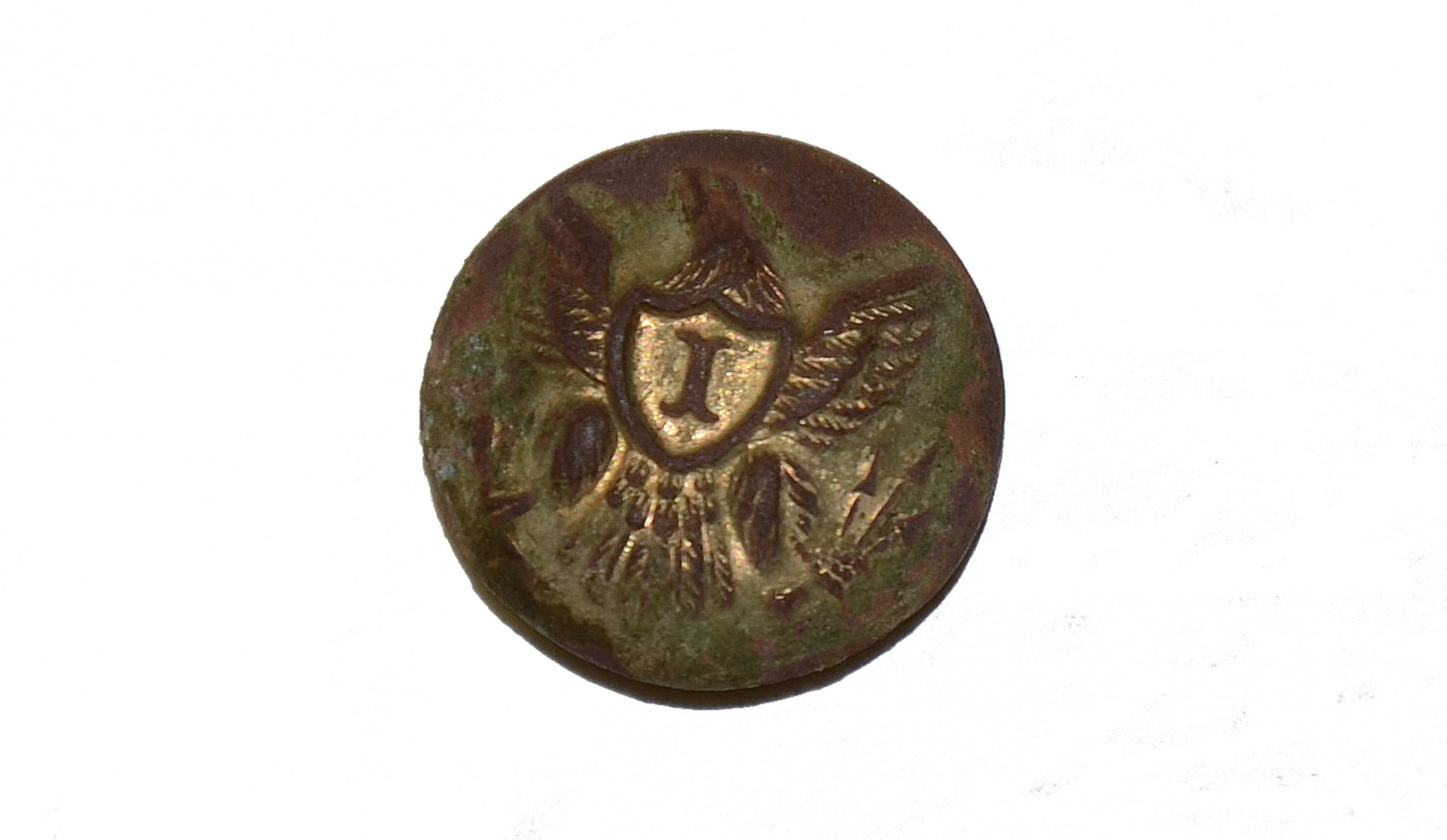 "EAGLE ""I"" INFANTRY BUTTON RECOVERED AT GETTYSBURG"