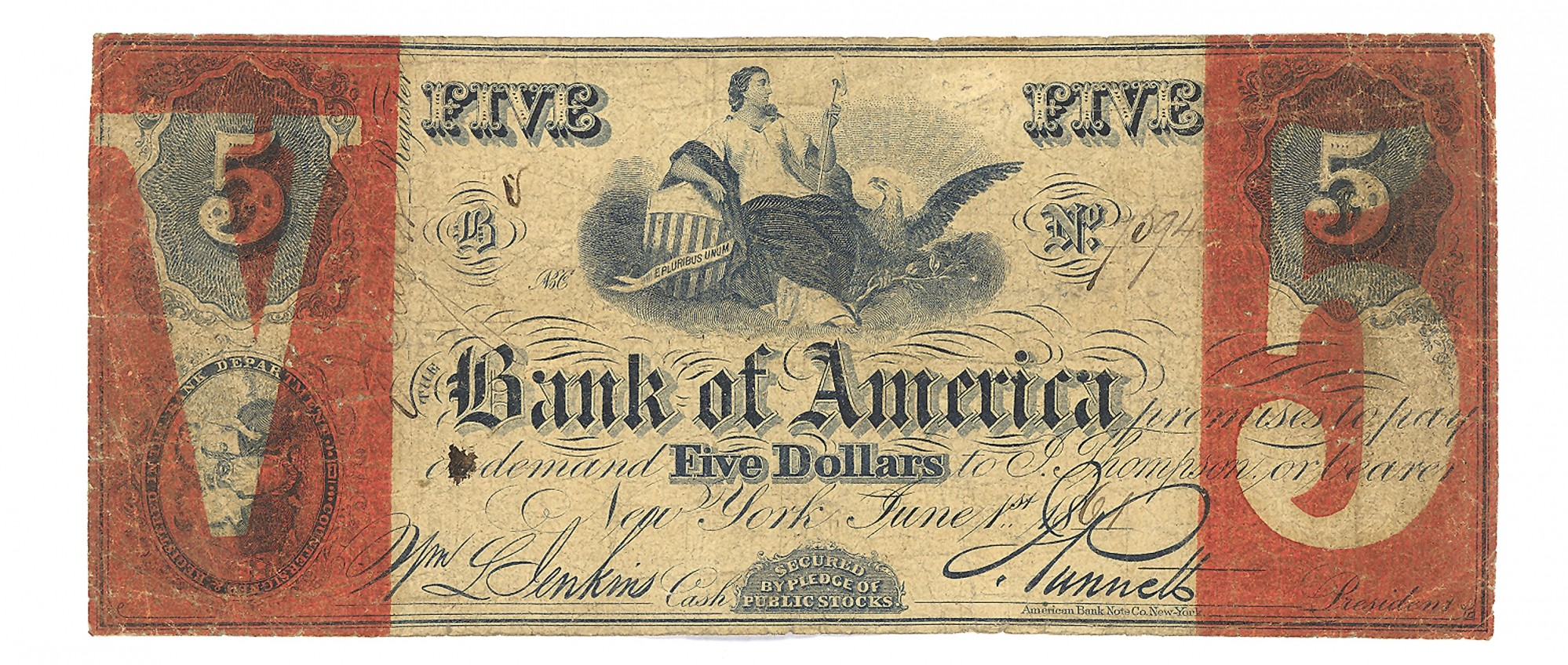 THE BANK OF AMERICA, NEW YORK CITY, NEW YORK $5 NOTE