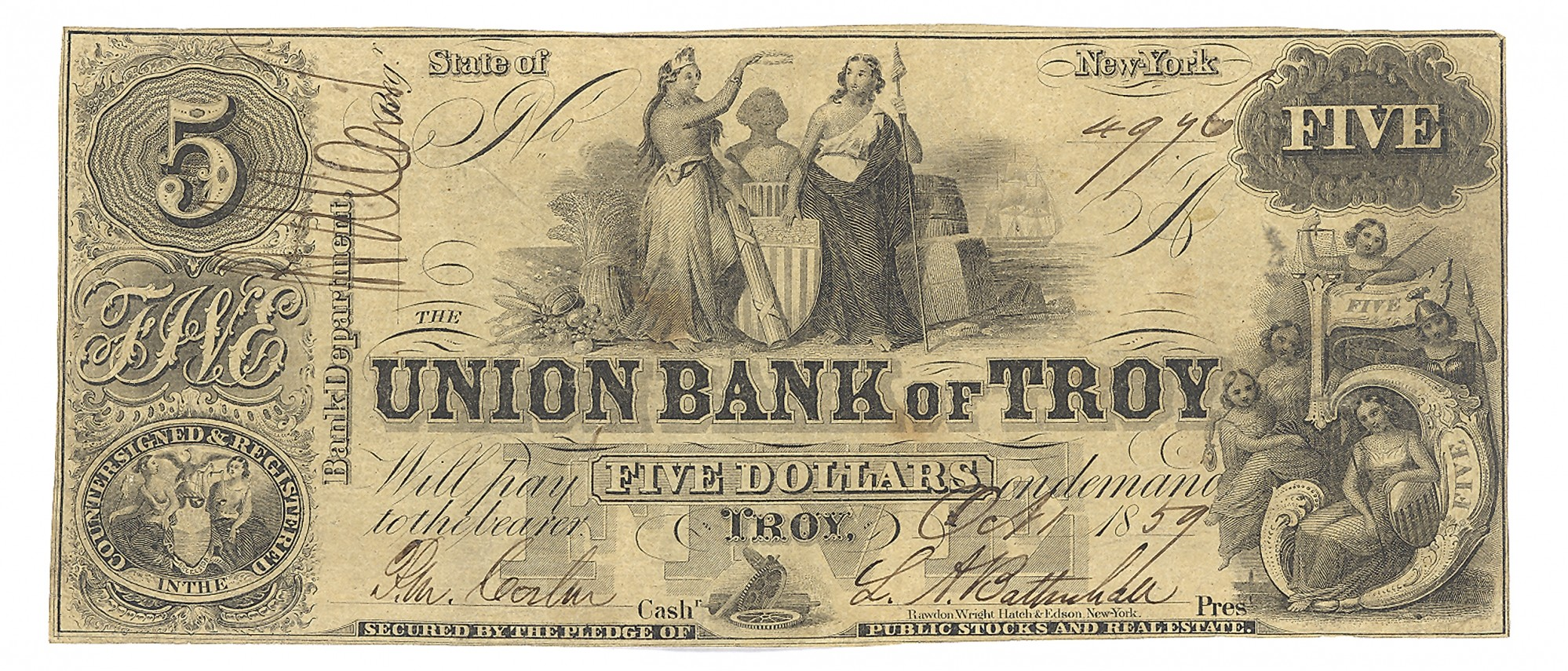 THE UNION BANK OF TROY, TROY, NEW YORK $5 NOTE