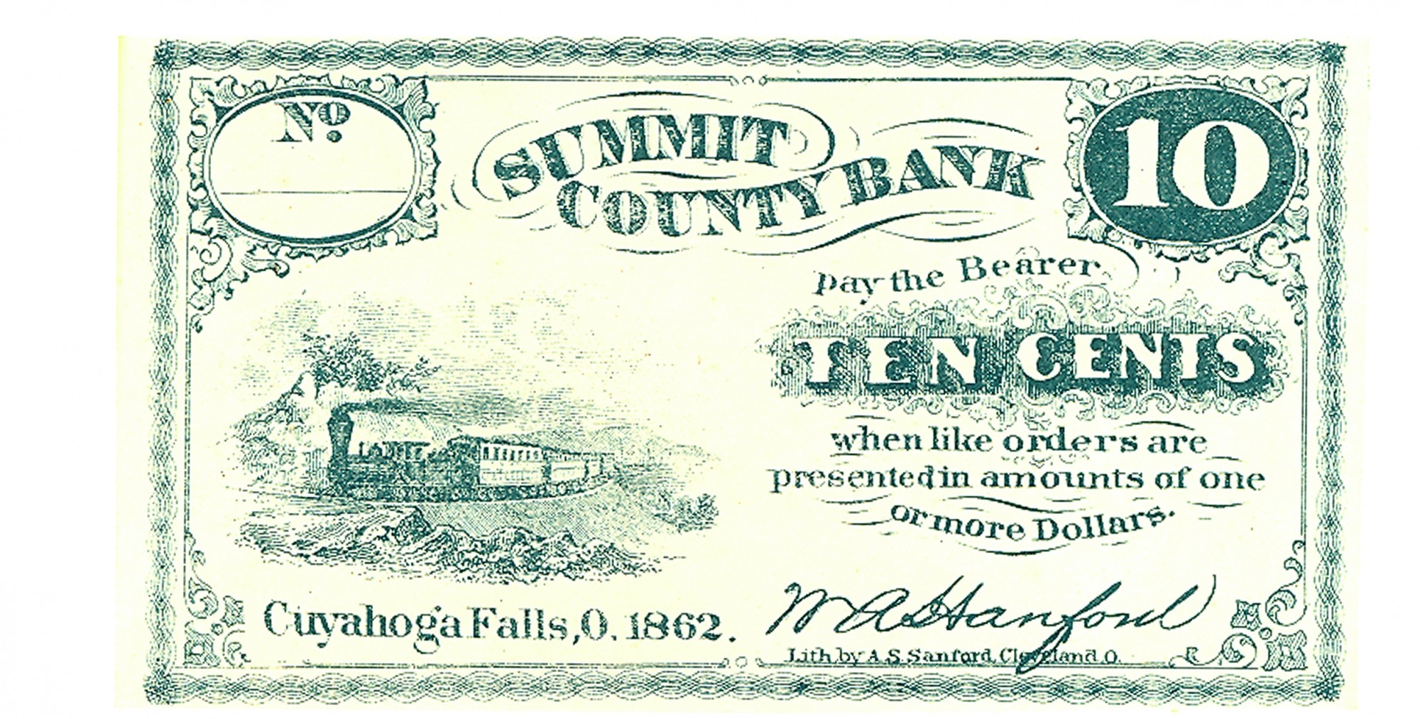 THE SUMMIT COUNTY BANK, OHIO, $.10 NOTE