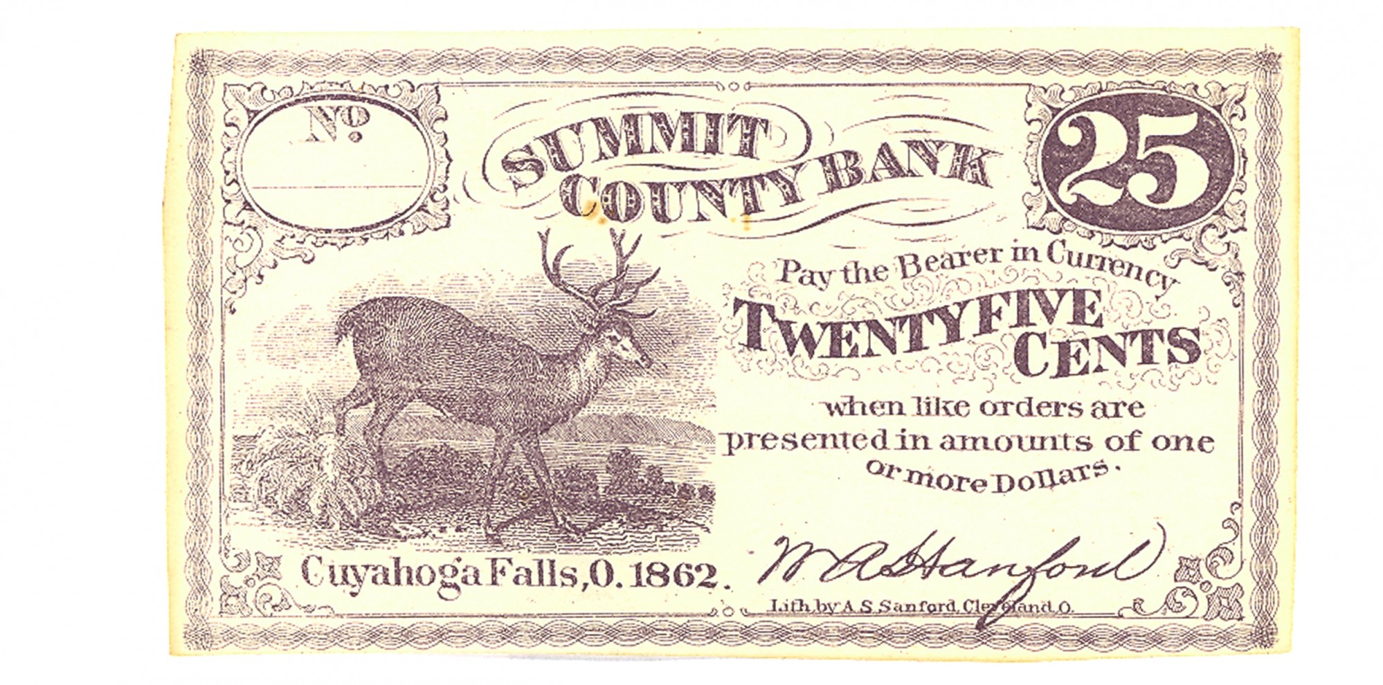 THE SUMMIT COUNTY BANK, OHIO, $.25 NOTE