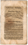 "CONFEDERATE IMPRINT - ""OFFICIAL ORDERS/ HEADQUARTER WHEELER'S CAVALRY CORPS"""
