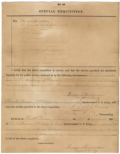 CAPTAIN GEORGE STONEMAN SIGNED DOCUMENT - SPECIAL REQUISITION #40