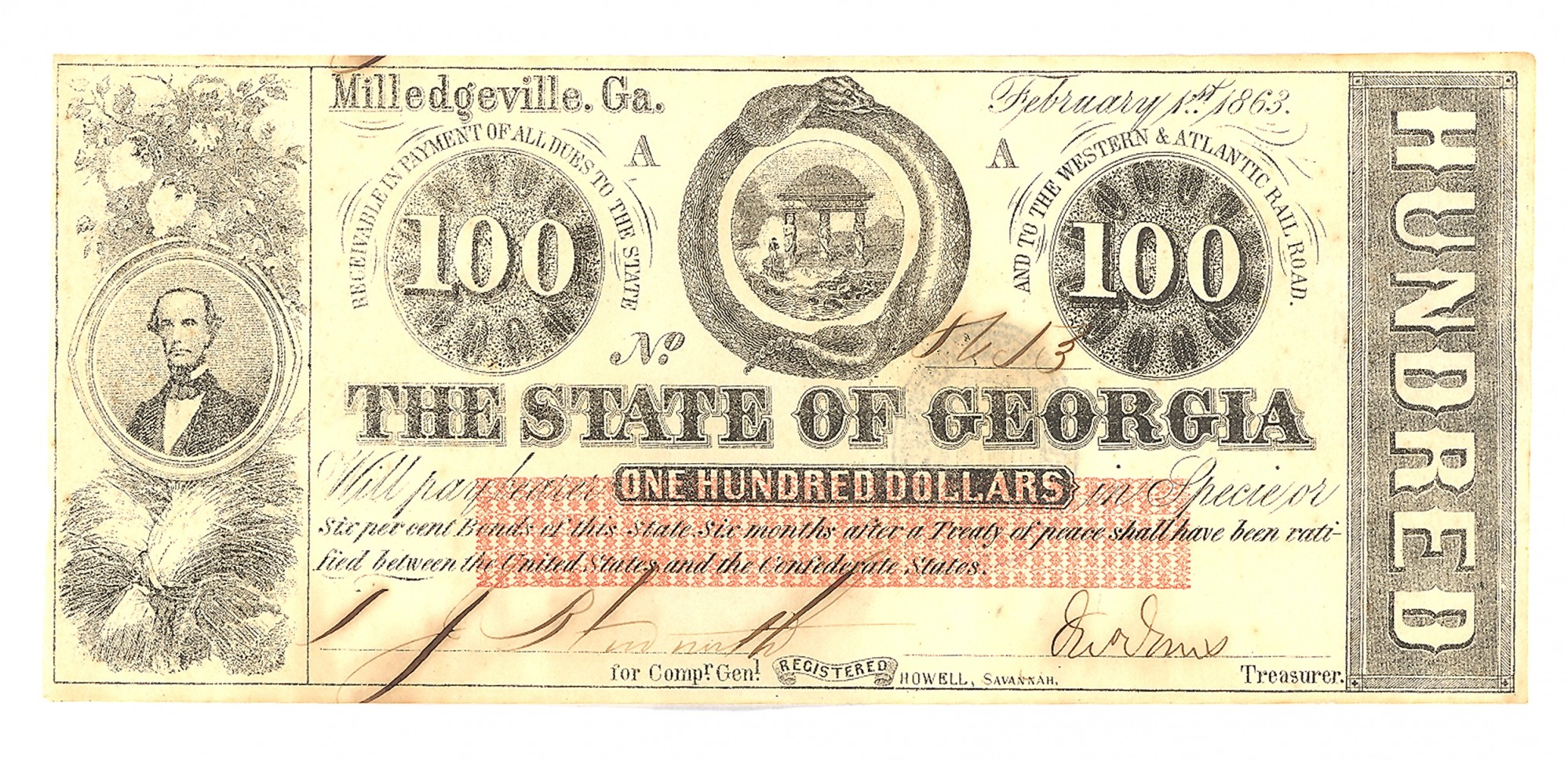 THE STATE OF GEORGIA $100 NOTE