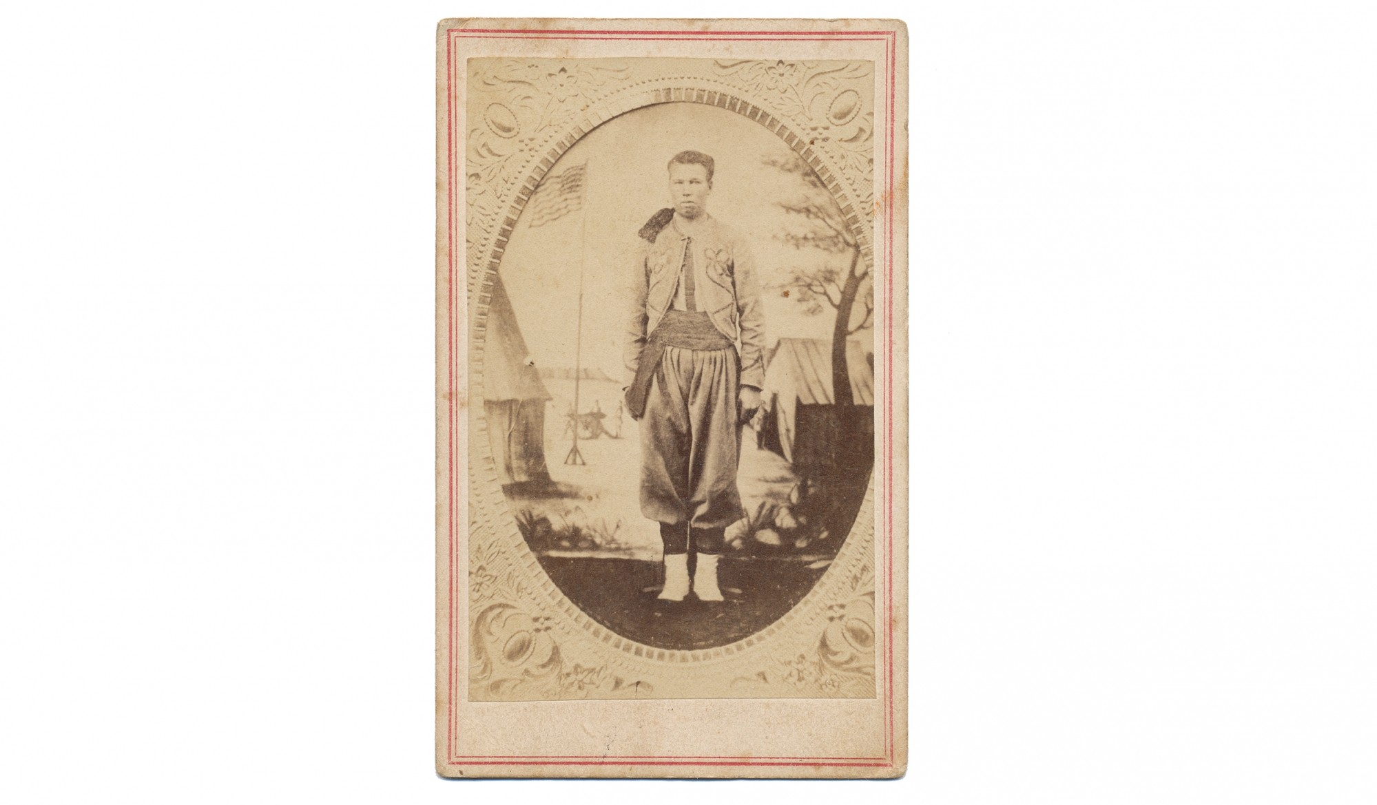 CIVIL WAR PERIOD CDV COPY OF A TINTYPE OF 146TH NEW YORK ZOUAVE KILLED IN ACTION