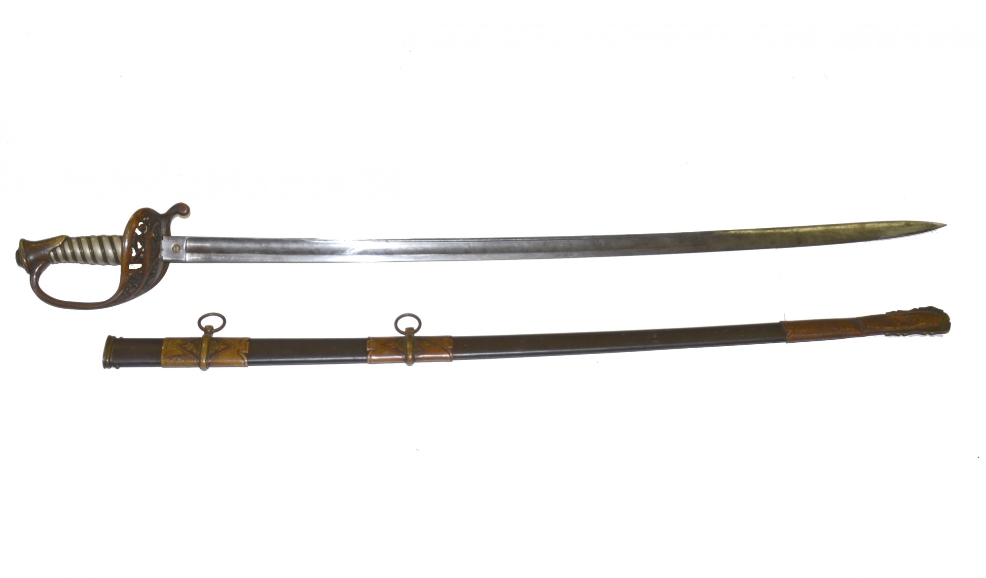 IMPORTED PRESENTATION GRADE MODEL 1850 STAFF & FIELD OFFICER'S SWORD ID'D TO 134TH ILLINOIS OFFICER