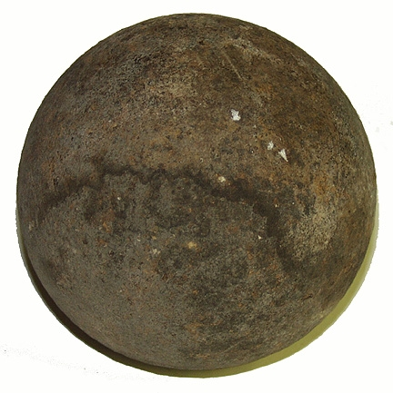 U.S. 4.52 INCH 12-POUND SPHERICAL SHELL FOUND ON THE HECK FARM BACK OF WOLF HILL - GETTYSBURG / GEISELMAN COLLECTION