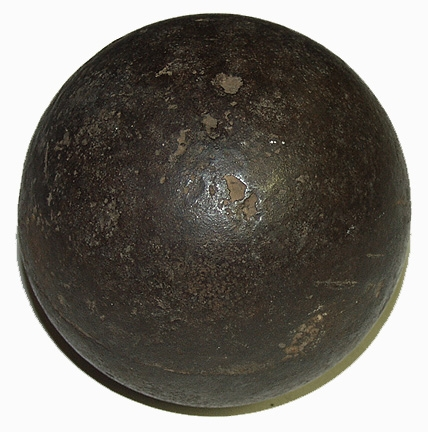 "MINT CONDITION CS 4.52"" 12 LB SPHERICAL SHELL FOUND ON EAST CAVALRY FIELD - GEISELMAN COLLECTION"