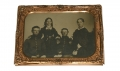 HALF-PLATE AMBROTYPE OF TWO SOLDIERS AND FAMILY