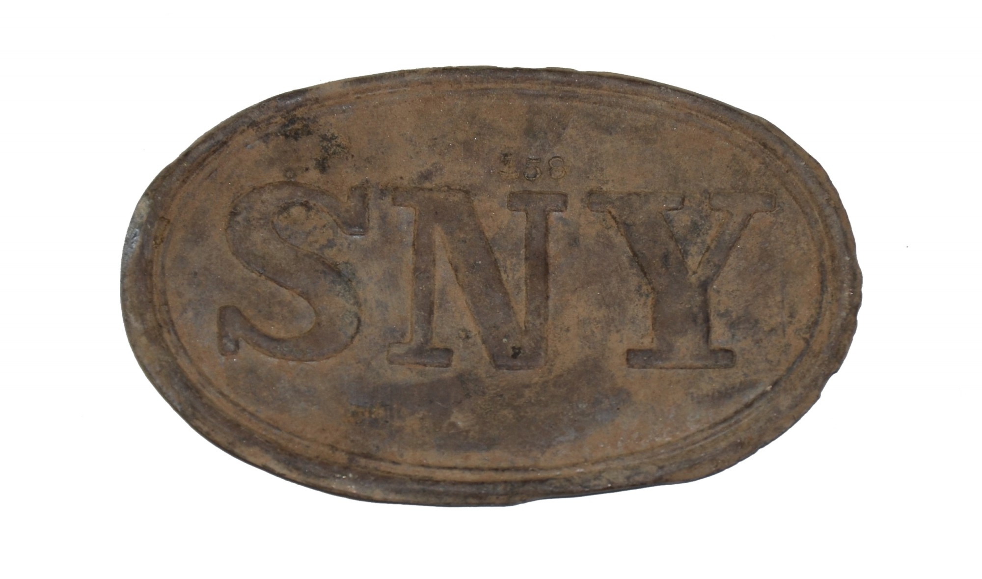 "CIVIL WAR ""SNY"" CARTRIDGE BOX PLATE SHELL ONLY FROM FREDERICKSBURG, VIRGINIA"