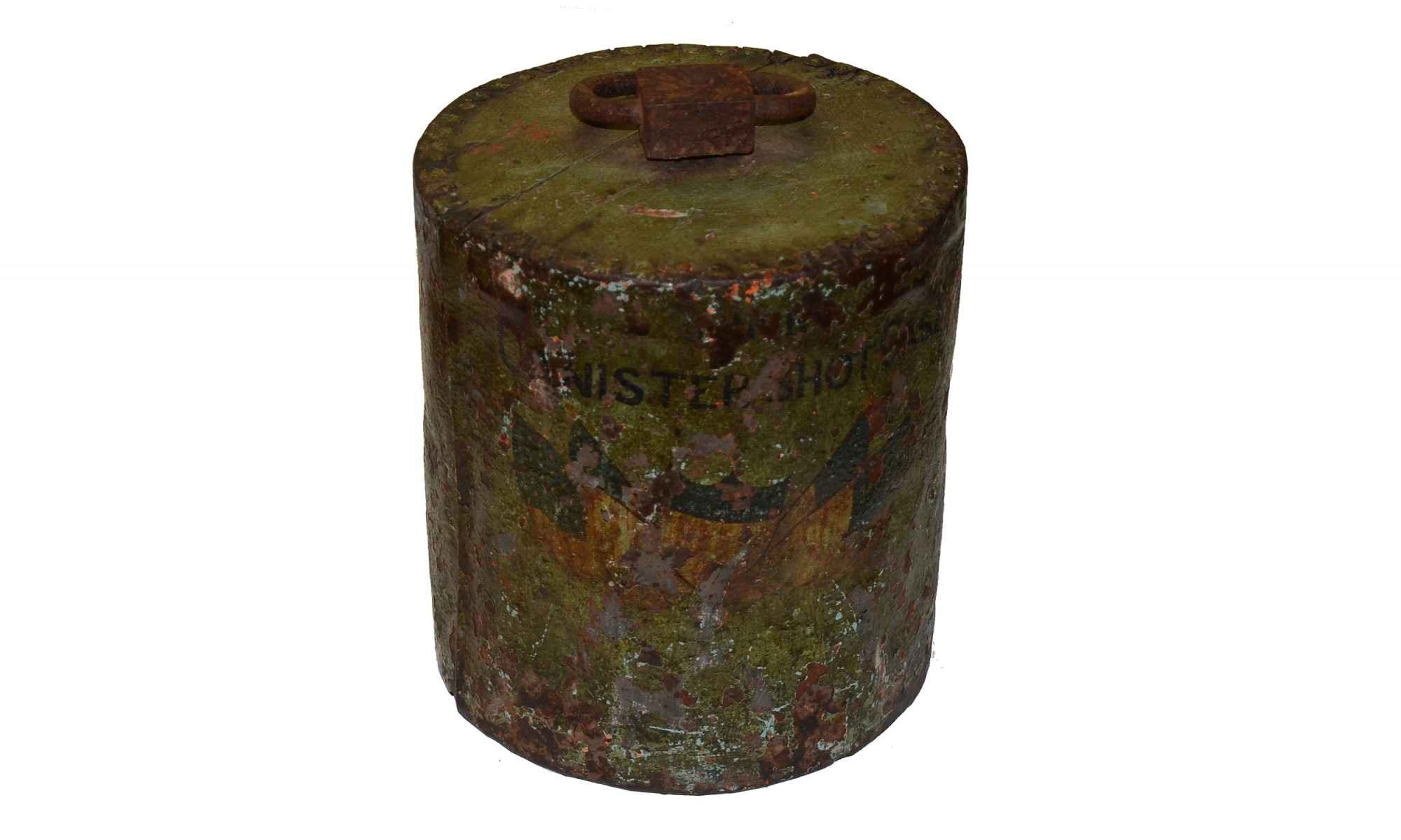 US 9-INCH DAHLGREN CANISTER ROUND WITH FOLK ART PAINTING