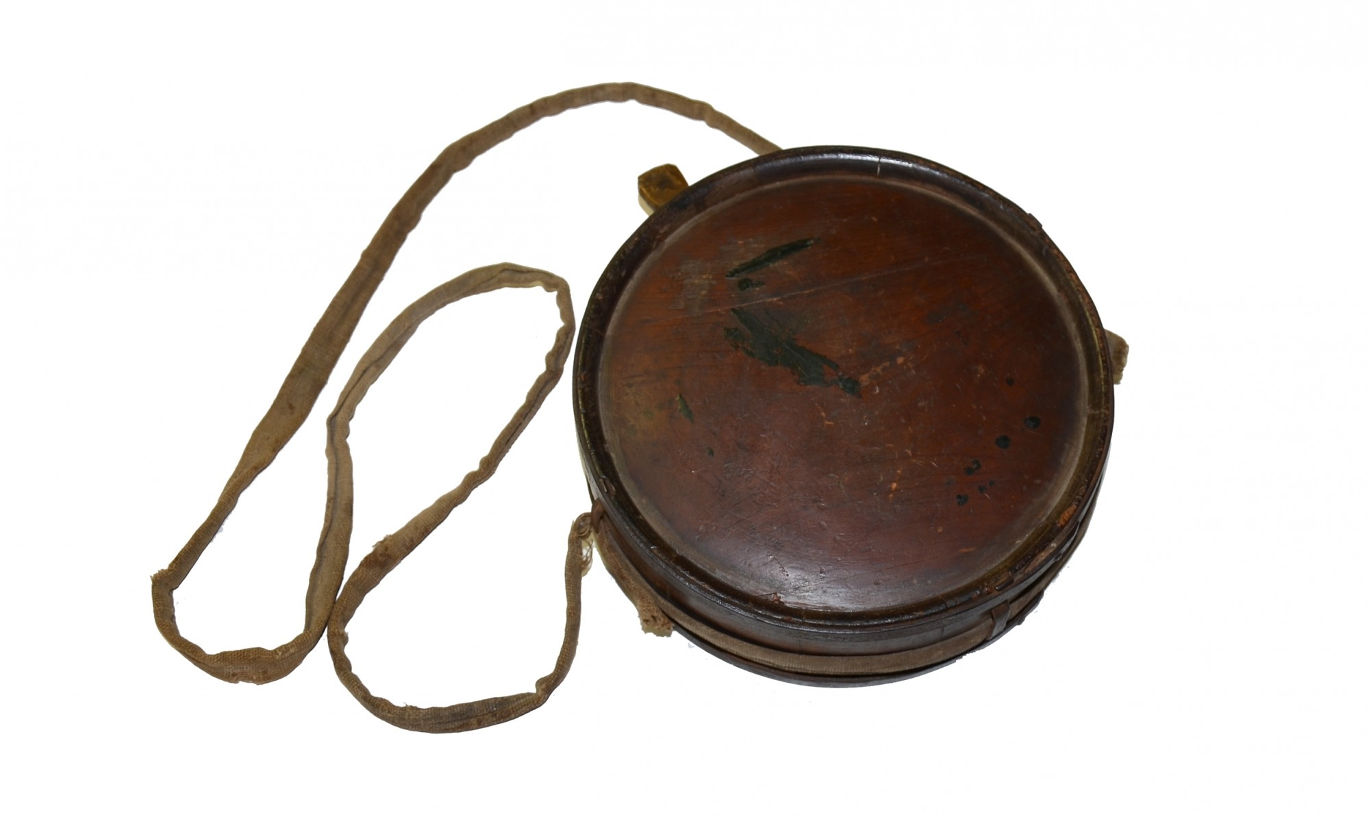 ORIGINAL, CIVIL WAR CONFEDERATE WOOD DRUM CANTEEN WITH SLING