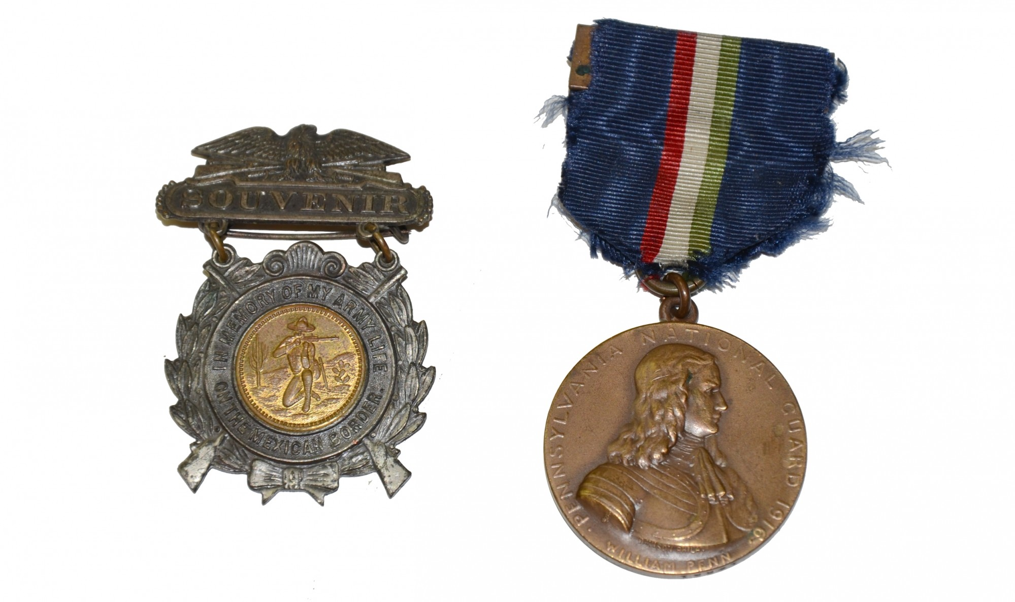 PAIR OF MEDALS FOR 1916 SERVICE ON THE MEXICAN BORDER