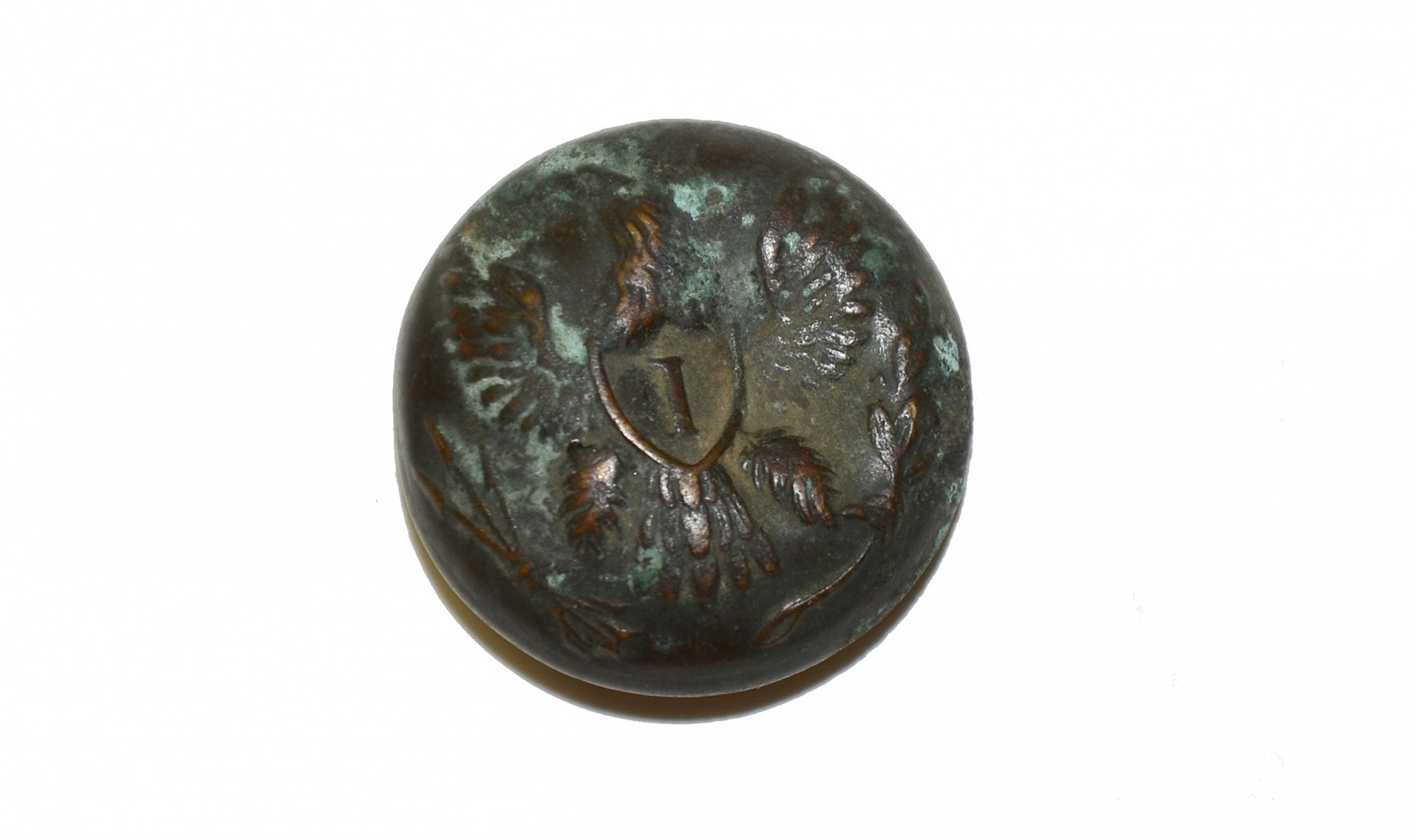 "EAGLE ""I"" BUTTON RECOVERED AT ROSE WOODS, GETTYSBURG"