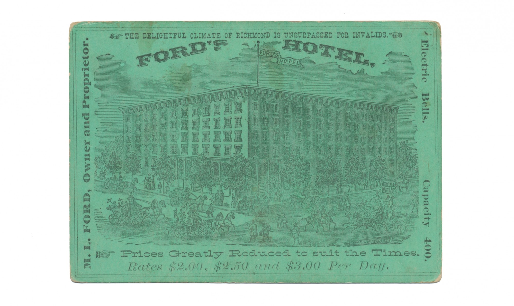 ADVERTISING CARD – FORD'S HOTEL, RICHMOND, VA