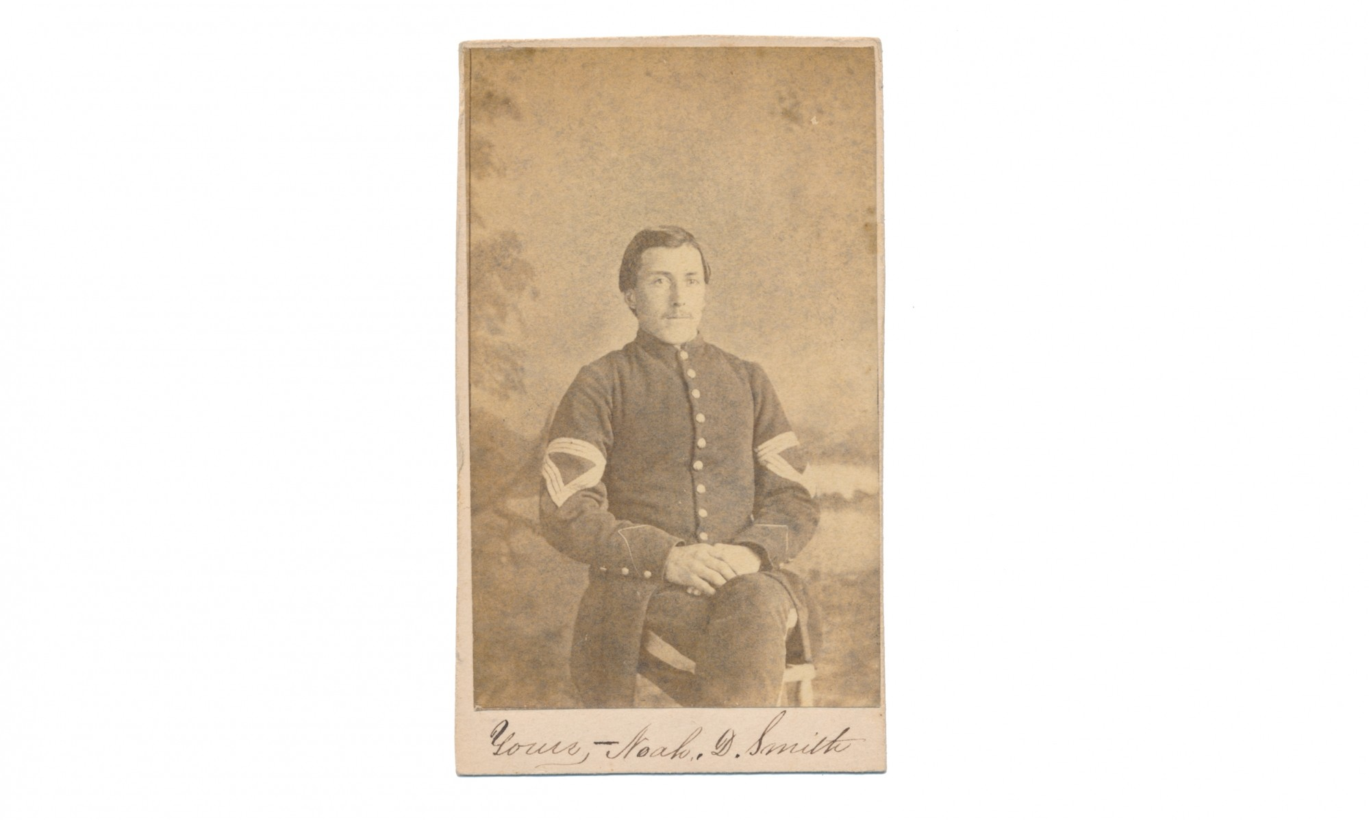 CDV THREE-QUARTER SEATED VIEW OF 56TH NEW YORK QUARTERMASTER SERGEANT