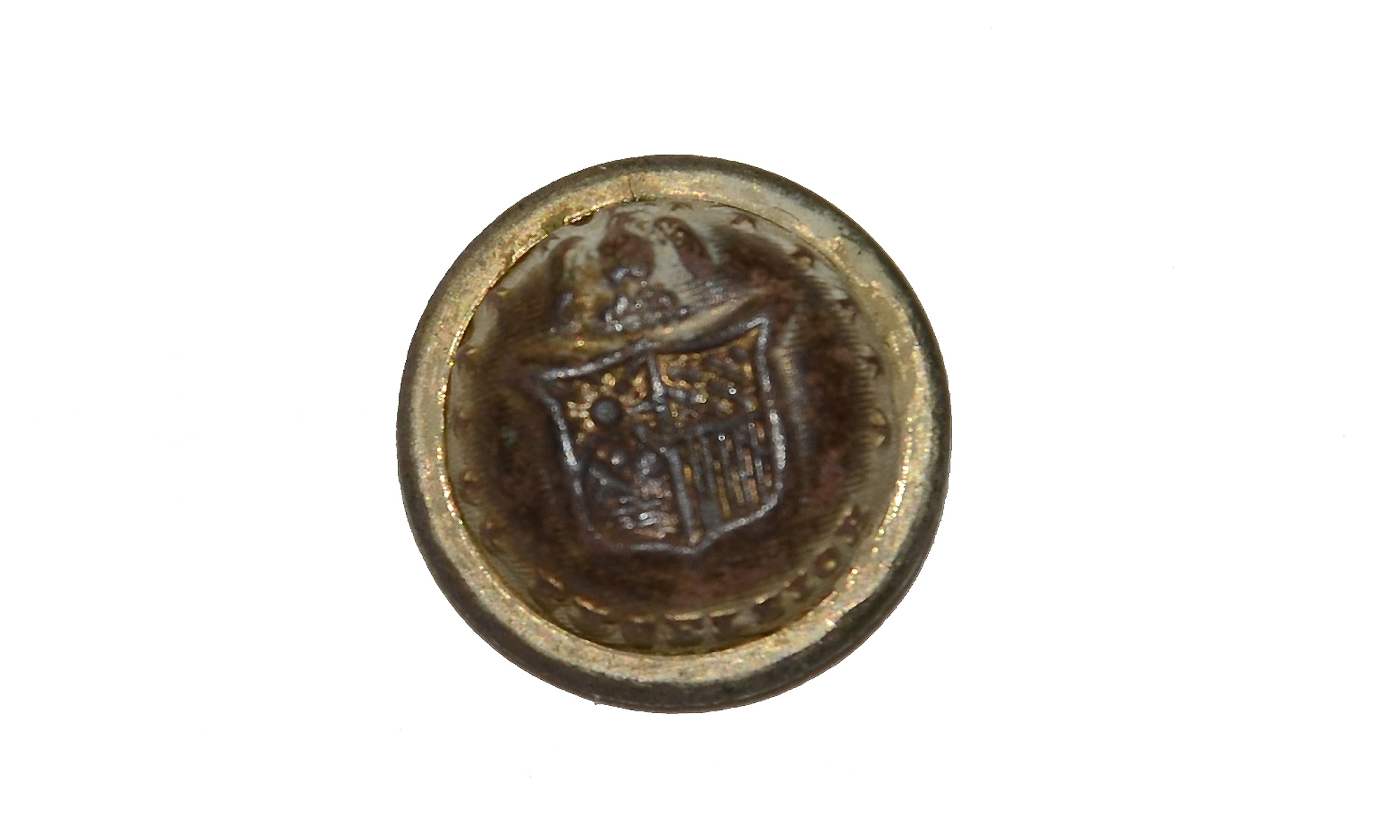 NEW YORK BUTTON RECOVERED AT ROSE WOODS, GETTYSBURG