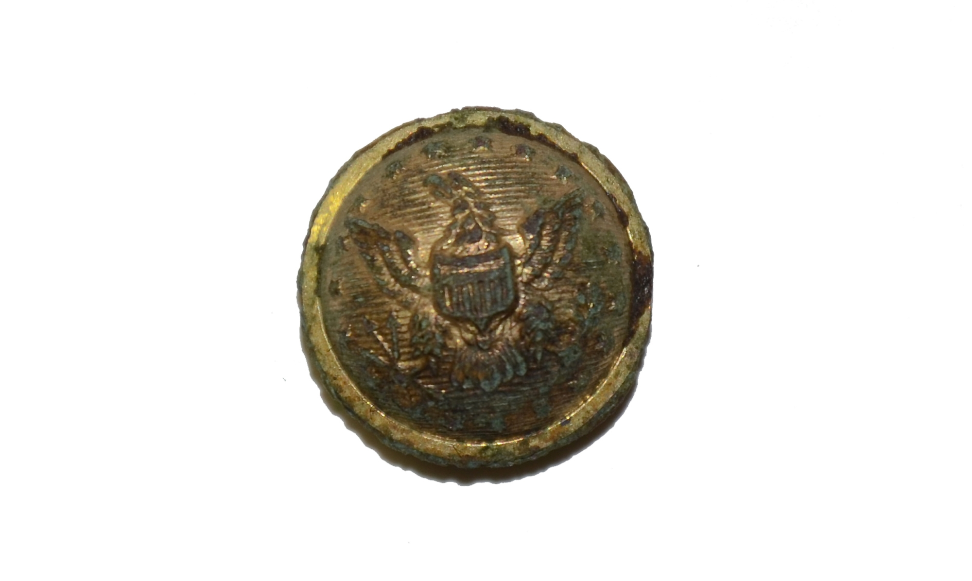 US STAFF OFFICERS BUTTON RECOVERED IN THE WHEATFIELD, GETTYSBURG