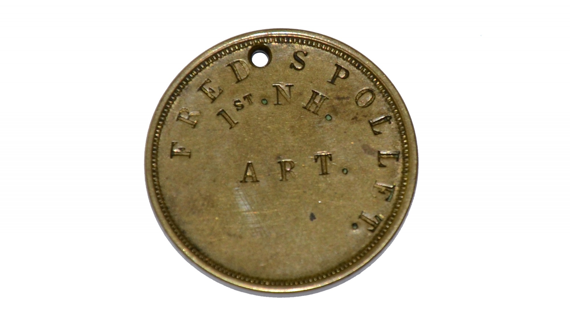 ID TAG FOR 1ST NEW HAMPSHIRE LIGHT ARTILLERY SOLDIER