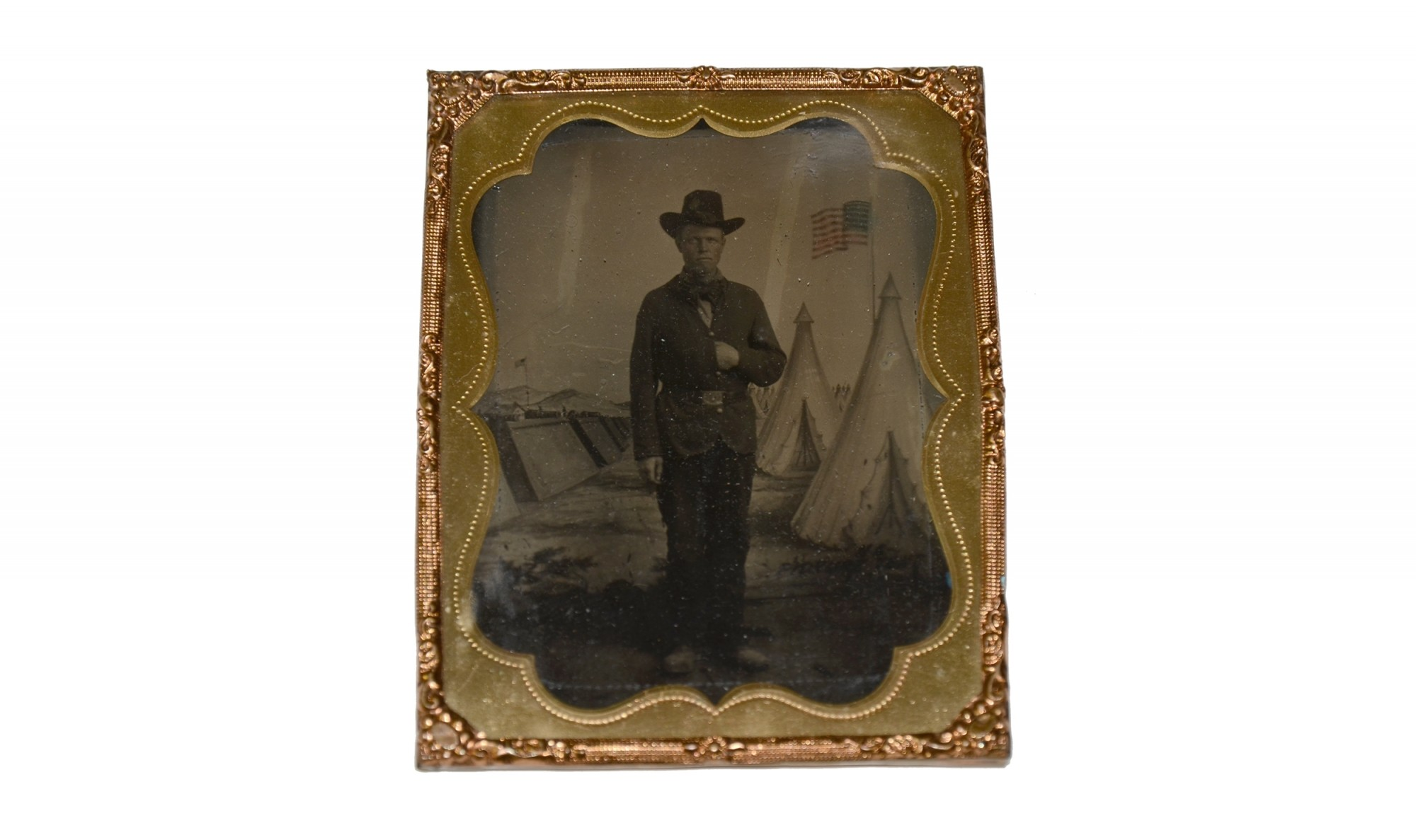 FULL STANDING QUARTER-PLATE TINTYPE OF BILLY YANK WITH PAINTED BACK DROP