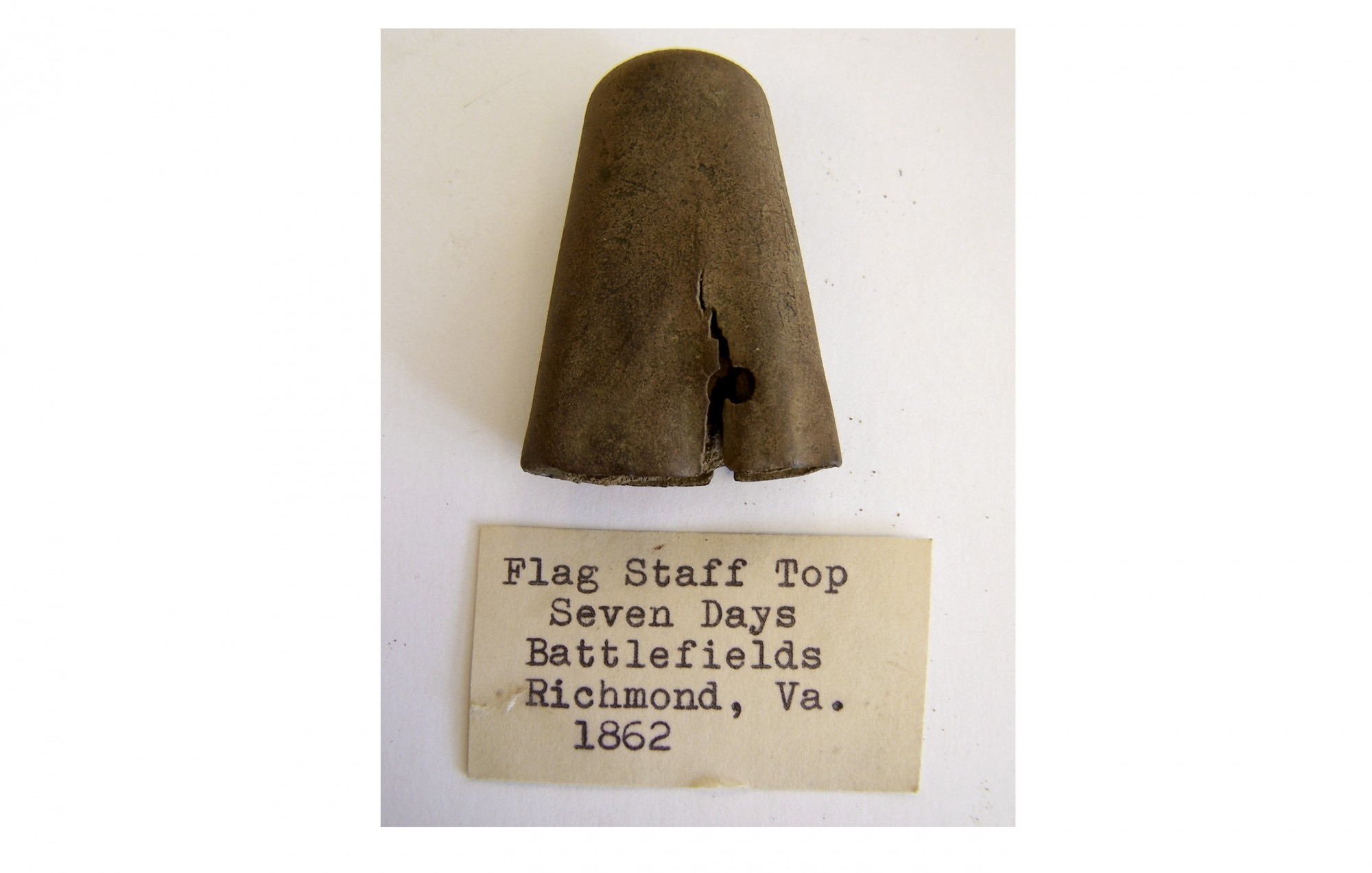 FLAG STAFF PIECE WITH WOOD SEVEN DAYS BATTLEFIELD RECOVERED FROM RICHMOND, VA