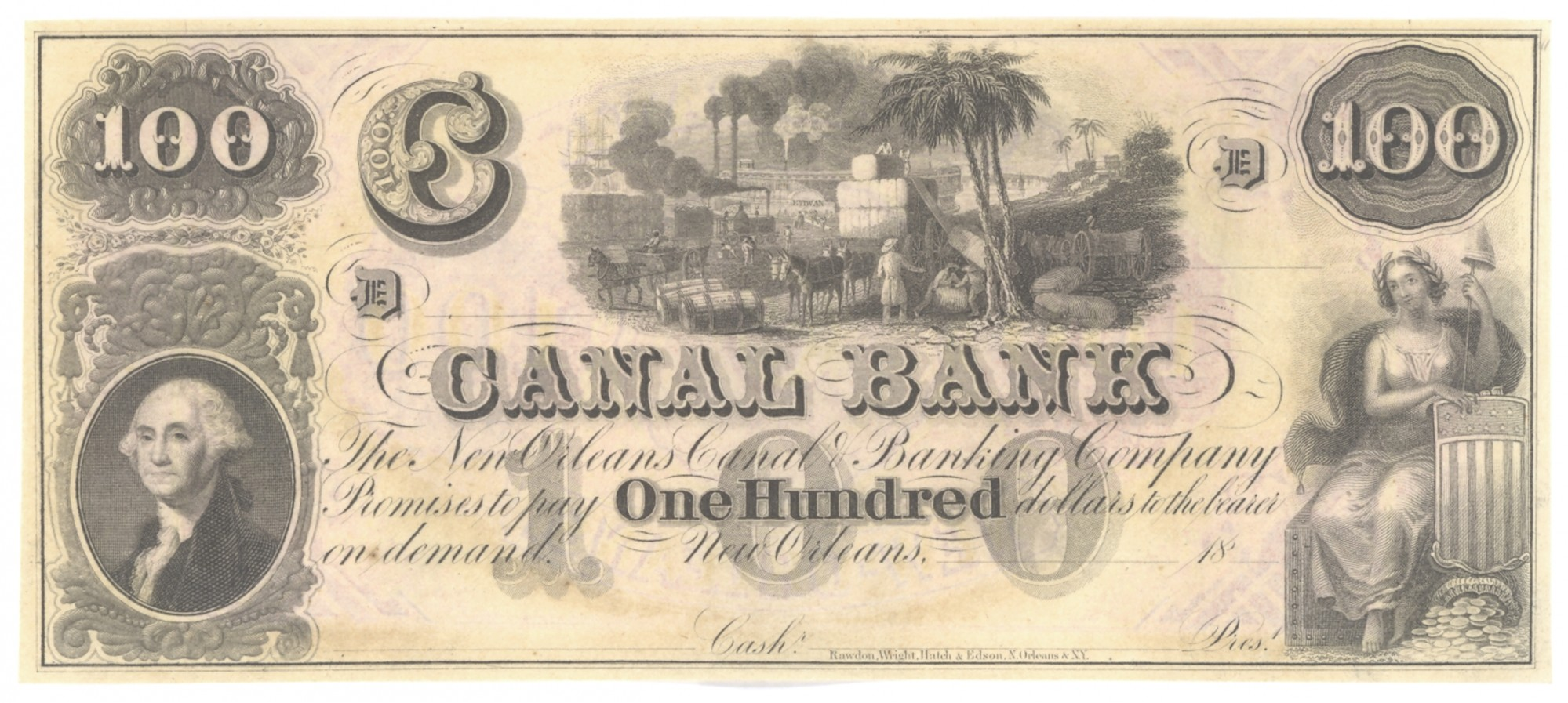 CANAL BANK, LOUSIANA, $100 NOTE