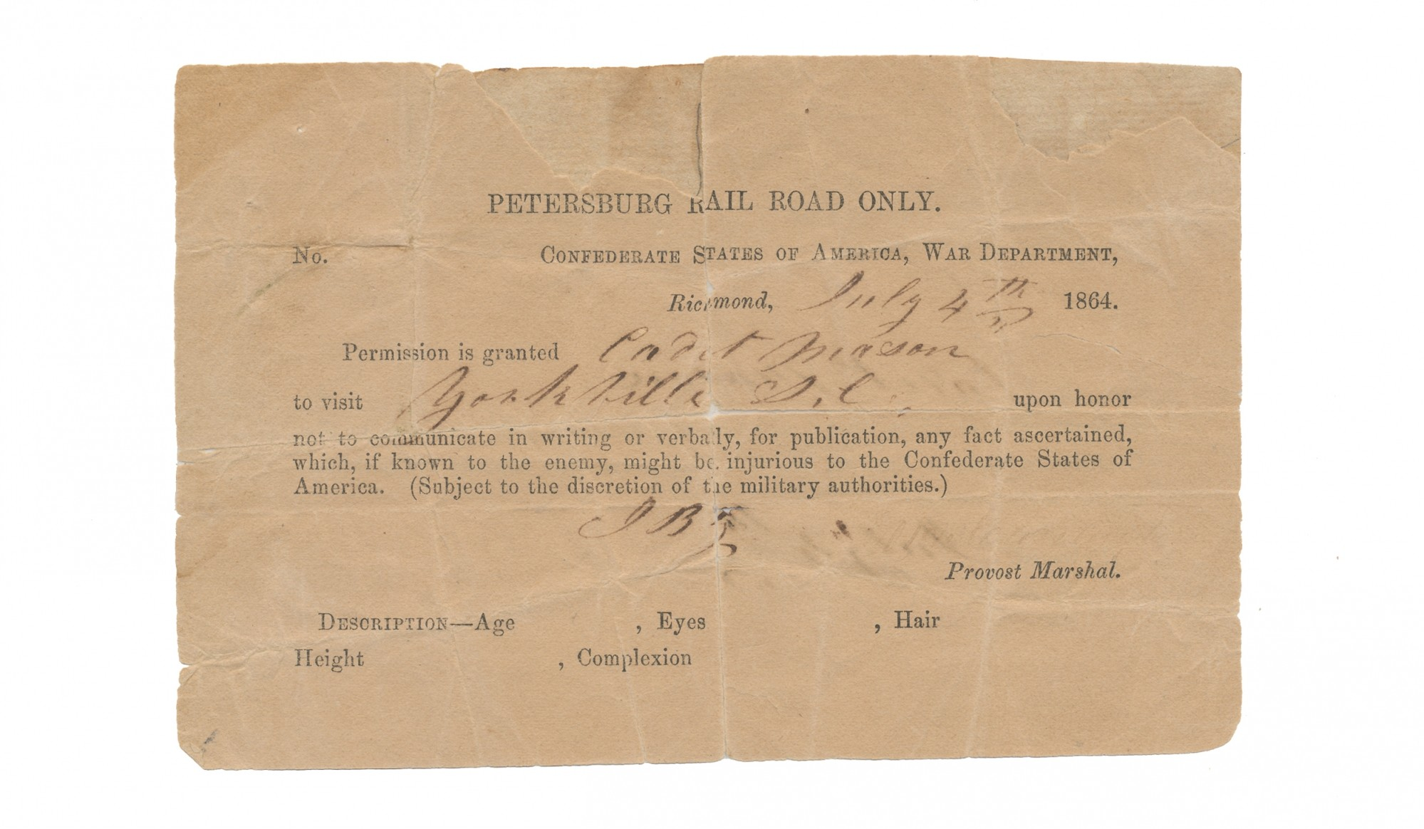 1864 PETERSBURG RAIL ROAD PASS ISSUED BY CONFEDERATE WAR DEPARTMENT