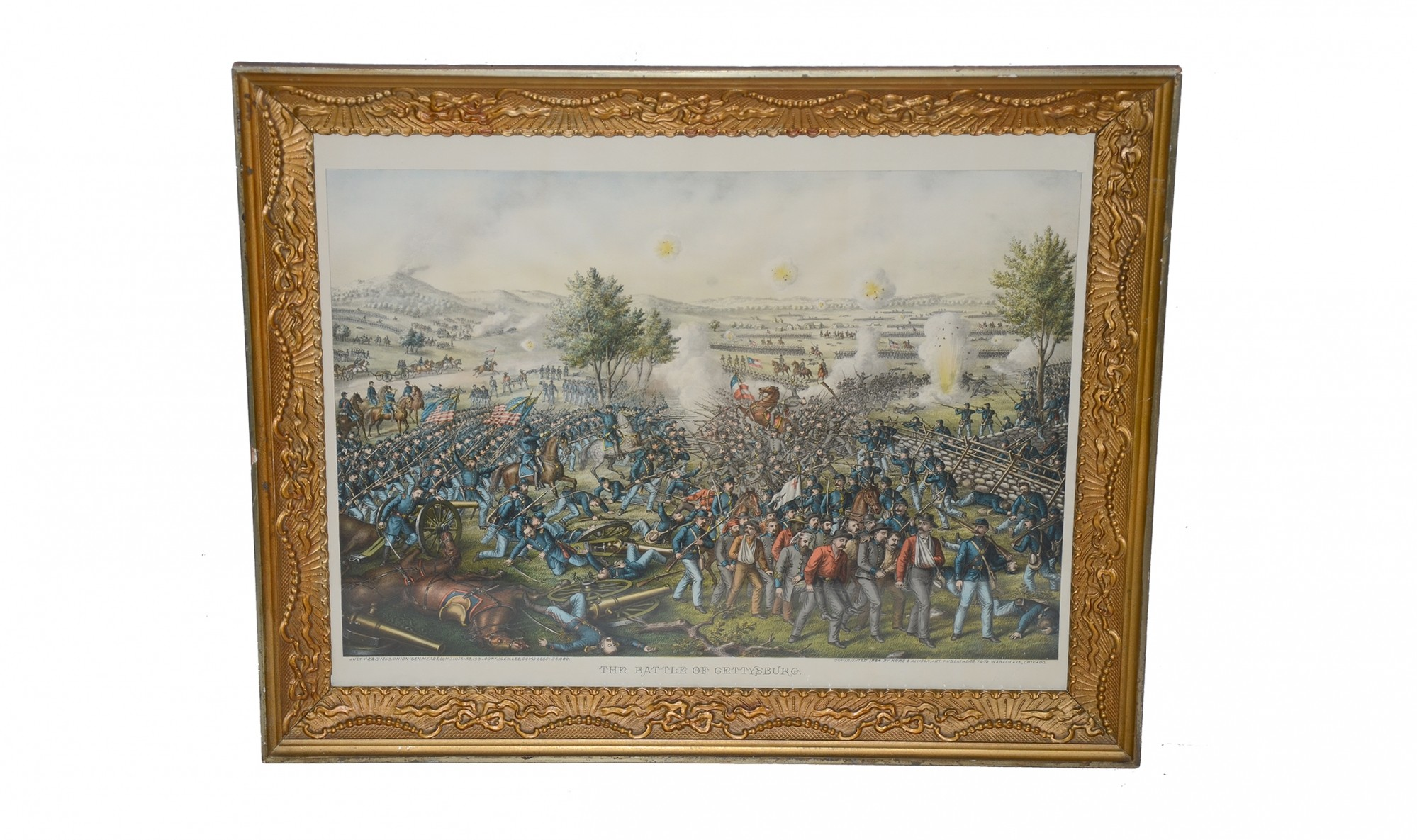 "CURRIER & IVES PRINT - ""THE BATTLE OF GETTYSBURG"""