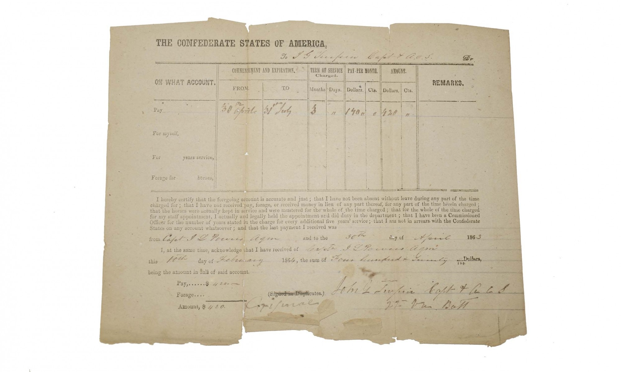 CONFEDERATE DOCUMENT RELATING TO THE 22ND VIRGINIA BATTALION