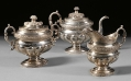 THREE PIECE PRESENTATION COIN SILVER TEA SERVICE